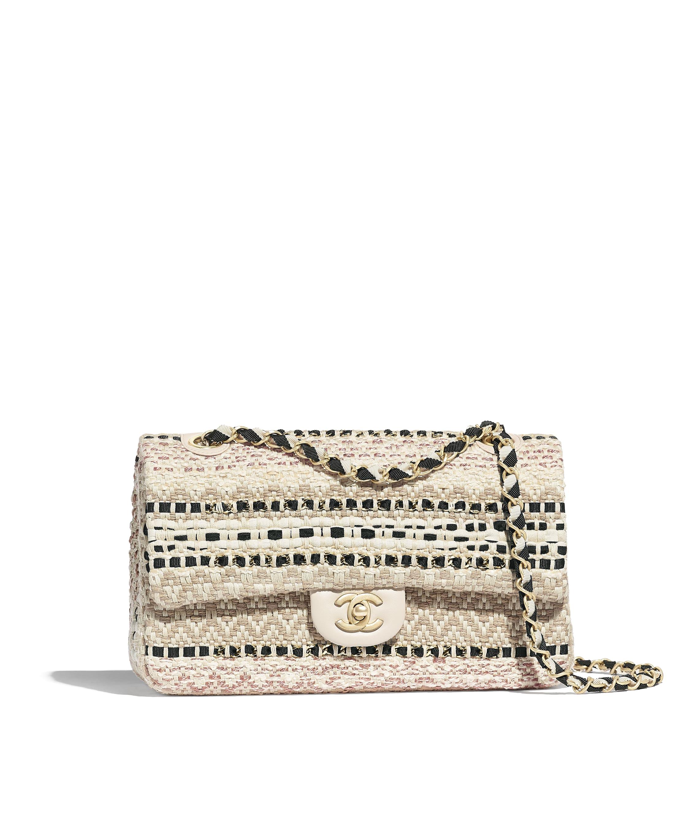 64993d3e57291d Flap Bag, cotton, raffia, lambskin & gold-tone metal, beige & black ...