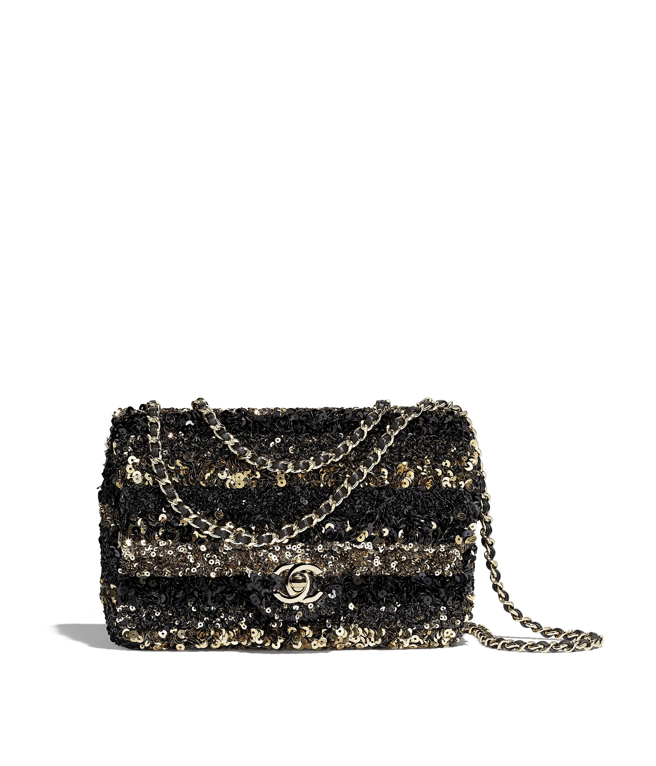 981645560a15 Flap Bag, sequins & gold-tone metal, gold & black - CHANEL