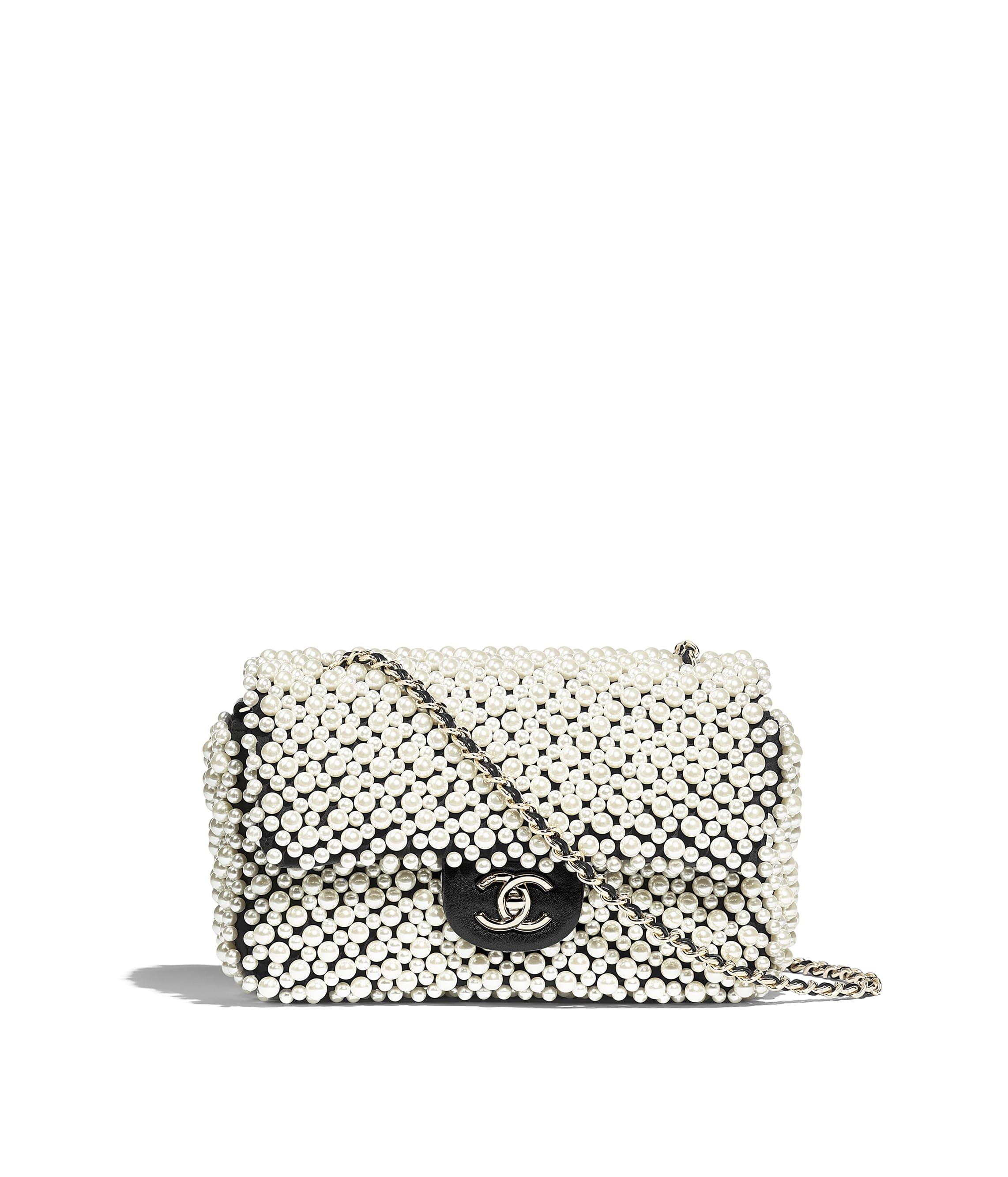 89ba631665cccd Flap Bag, imitation pearls, lambskin & gold-tone metal, white ...