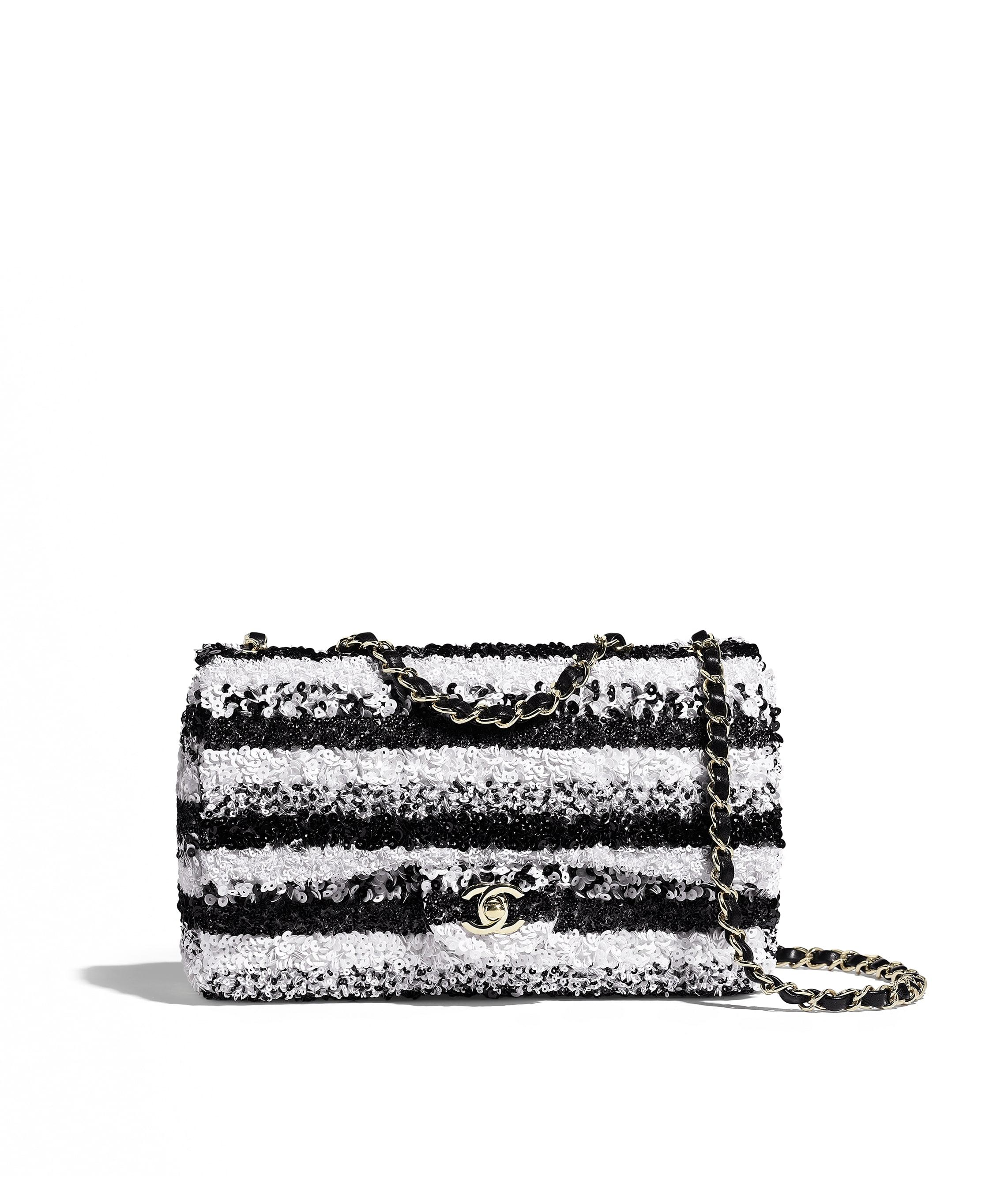 13ed12031cc7 Flap Bag, sequins & gold-tone metal, white & black - CHANEL