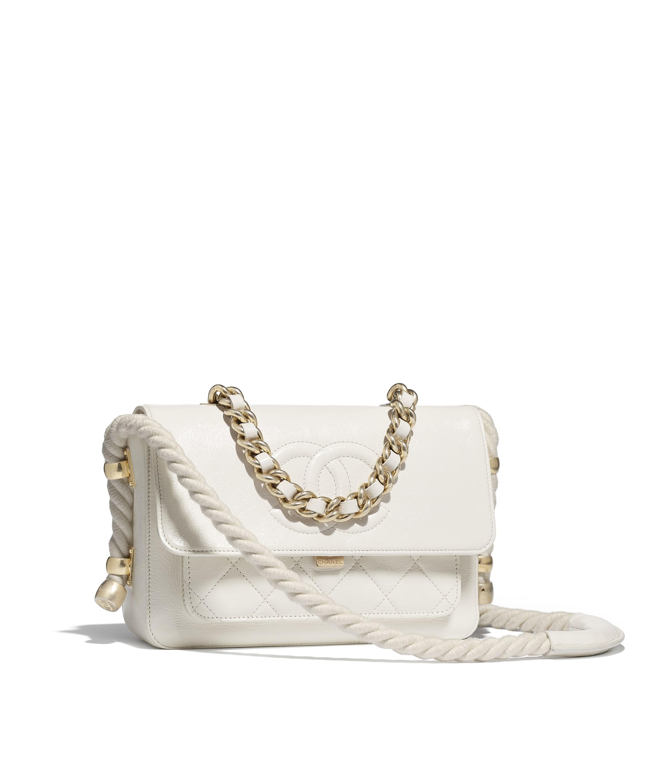 2c4e38946e788a Flap Bag, crumpled calfskin, cotton & gold-tone metal, white - CHANEL