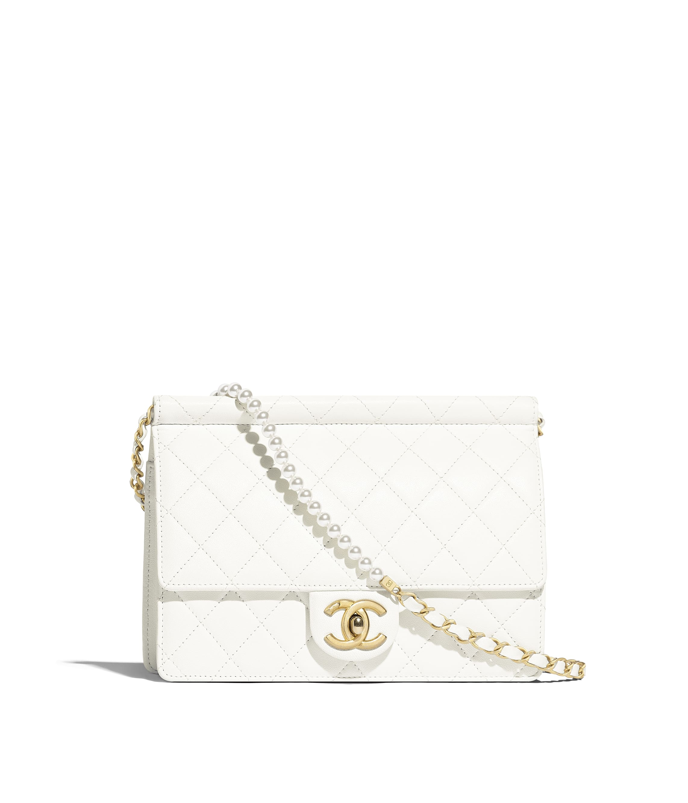 f796e72f53b24f Flap Bag, lambskin, imitation pearls & gold-tone metal, white - CHANEL