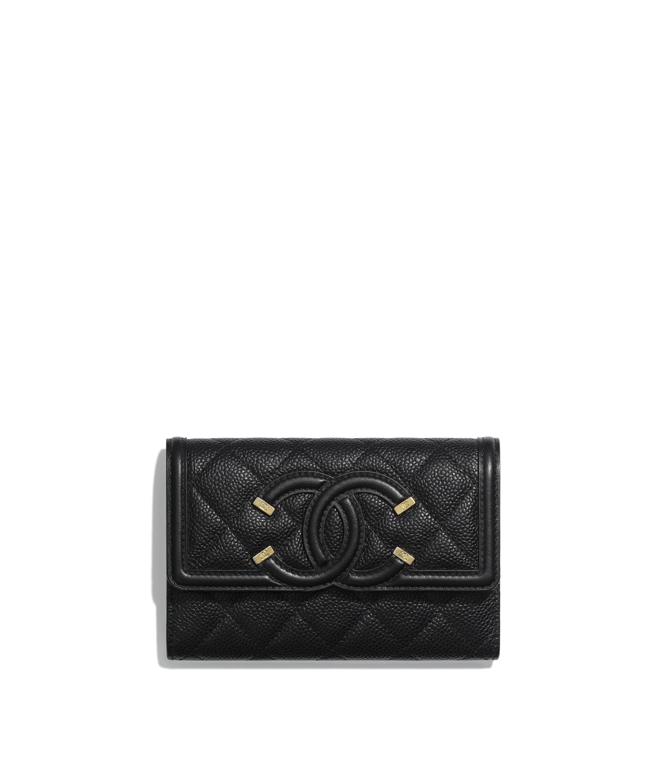 7ee672fa8e90d1 Flap Wallet. Grained Calfskin, Smooth Calfskin & Gold-Tone Metal. Black