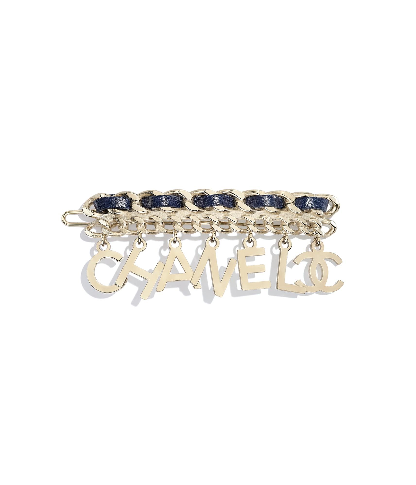 731f4781b Hair Accessory, metal & calfskin, gold & blue - CHANEL