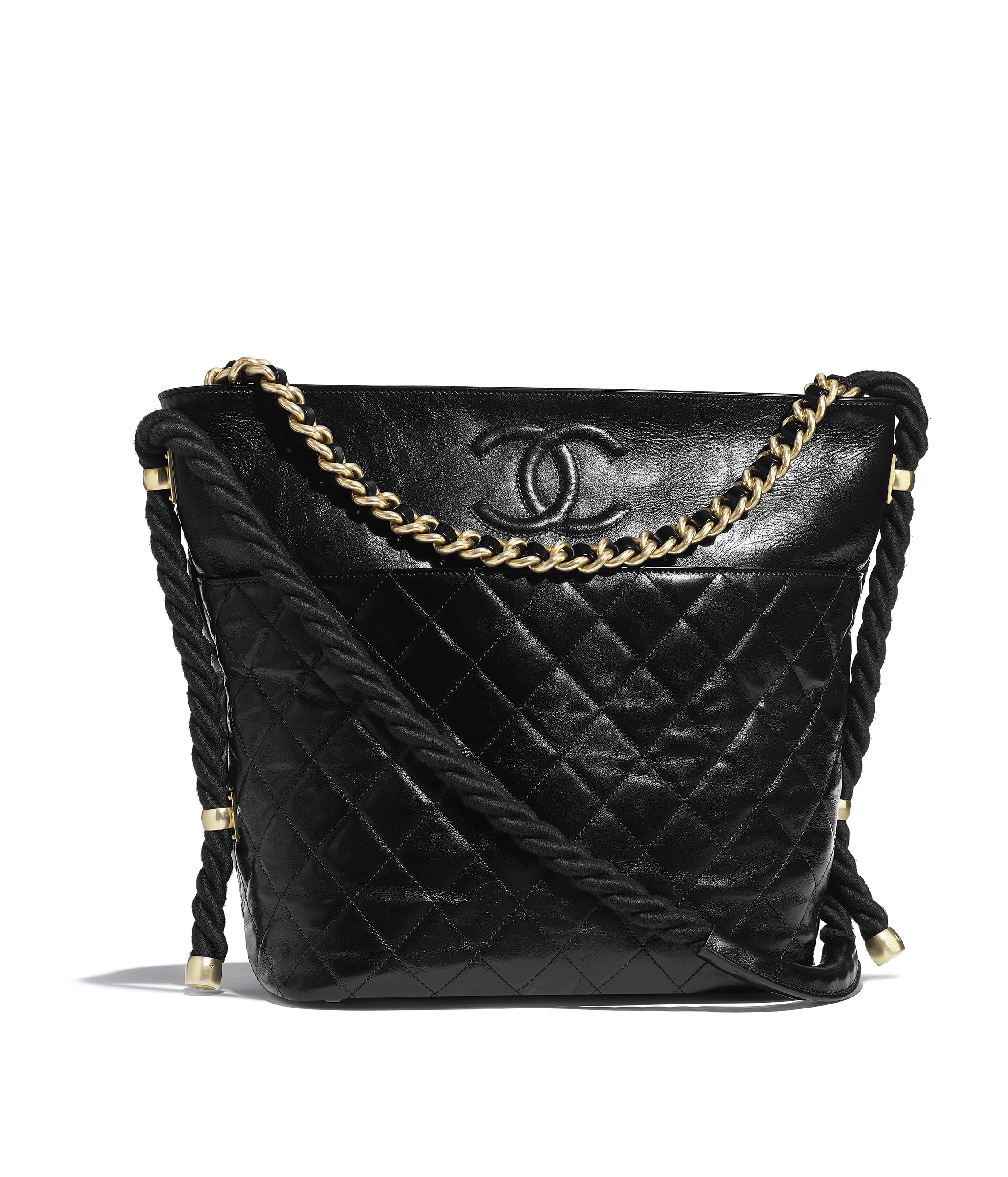 813a6330af61b1 Hobo Handbag, crumpled calfskin, cotton & gold-tone metal, white ...