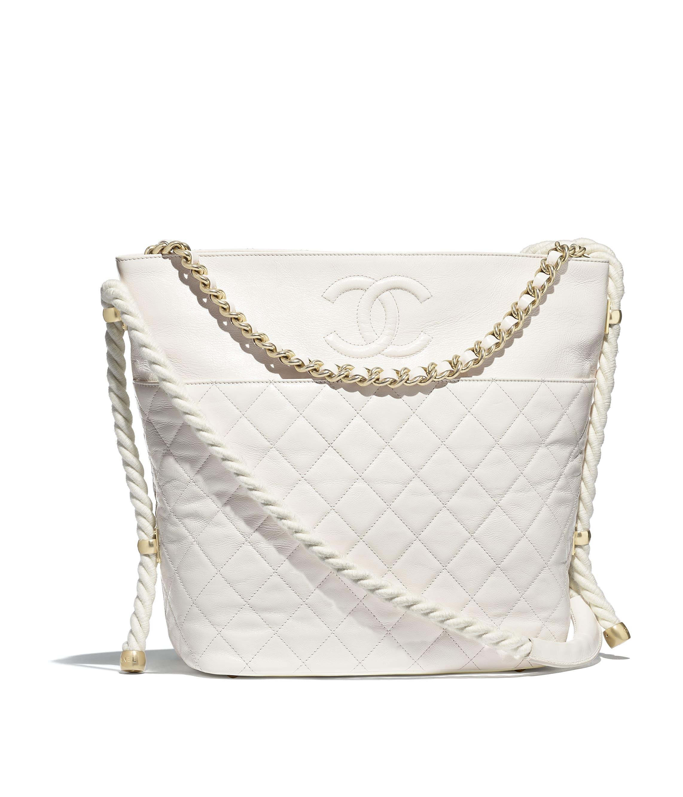 efd8c72a7ce8 Hobo Handbag, crumpled calfskin, cotton & gold-tone metal, white ...