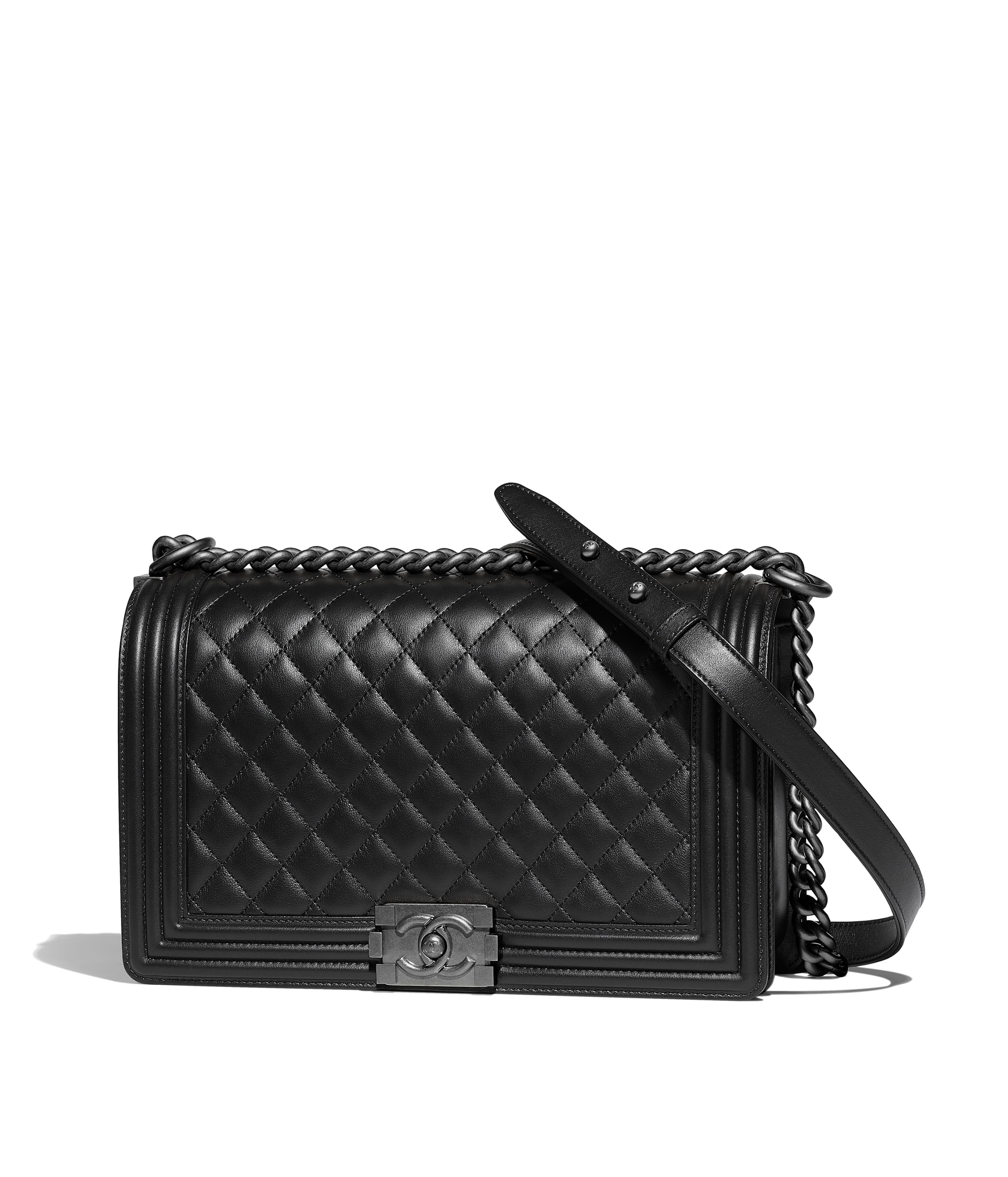 d0a0a9dd28ec Large BOY CHANEL Handbag, calfskin & ruthenium-finish metal, black ...