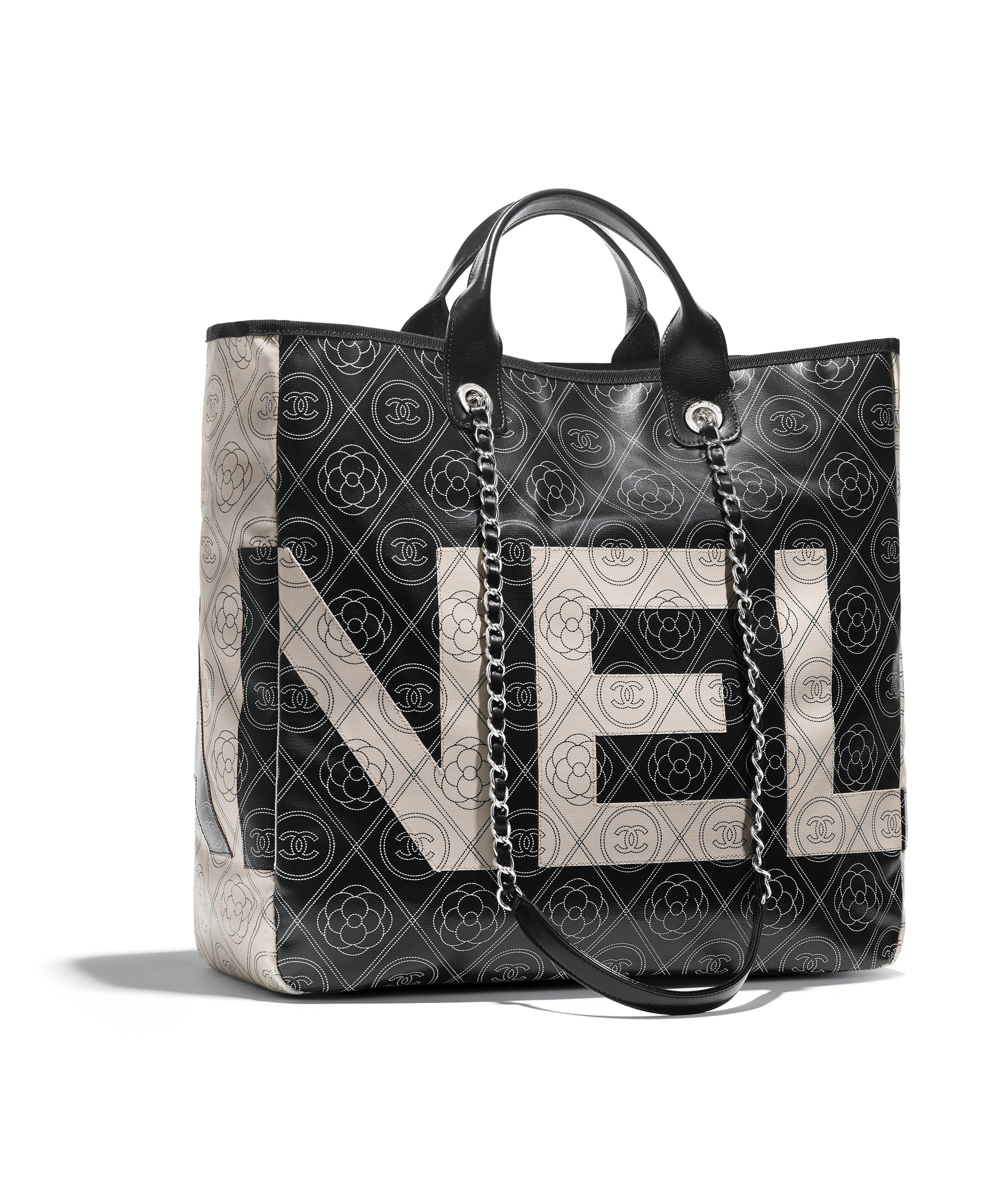 38335a532eb652 Chanel Printed Canvas Large Shopping Bag A57161 Black | Stanford ...
