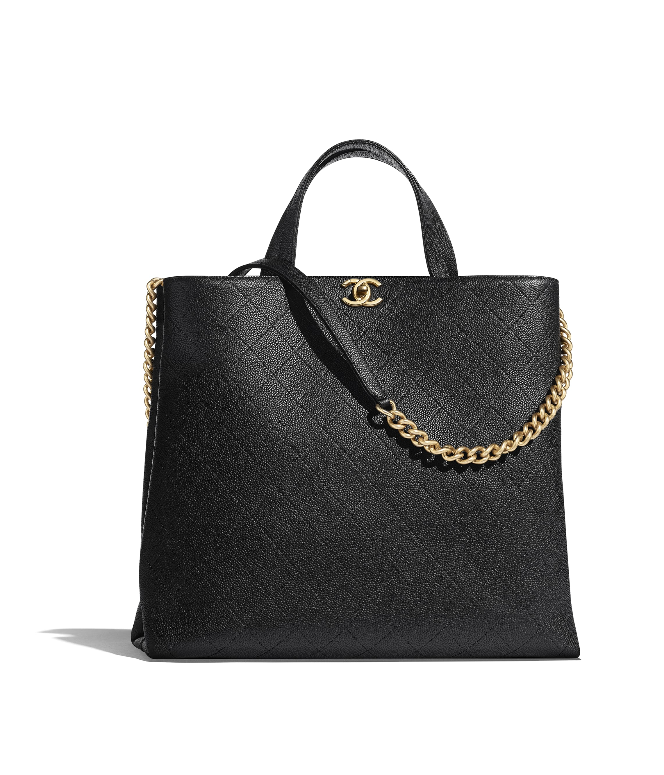 cc13367839aebe Large Shopping Bag, grained calfskin & gold-tone metal, black - CHANEL