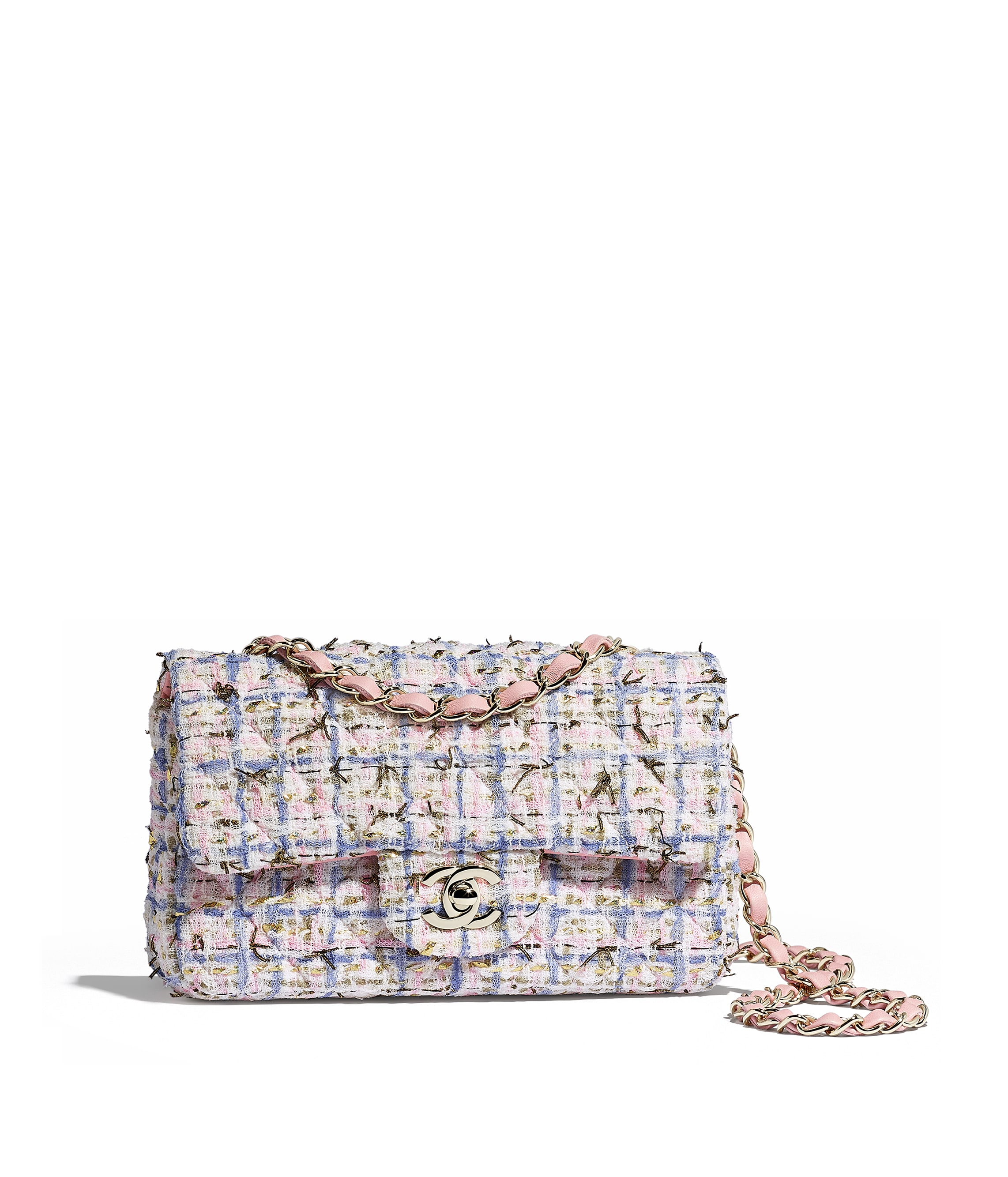 3c167eab9958ad Mini Flap Bag, tweed & gold metal, blue, pink & gold - CHANEL
