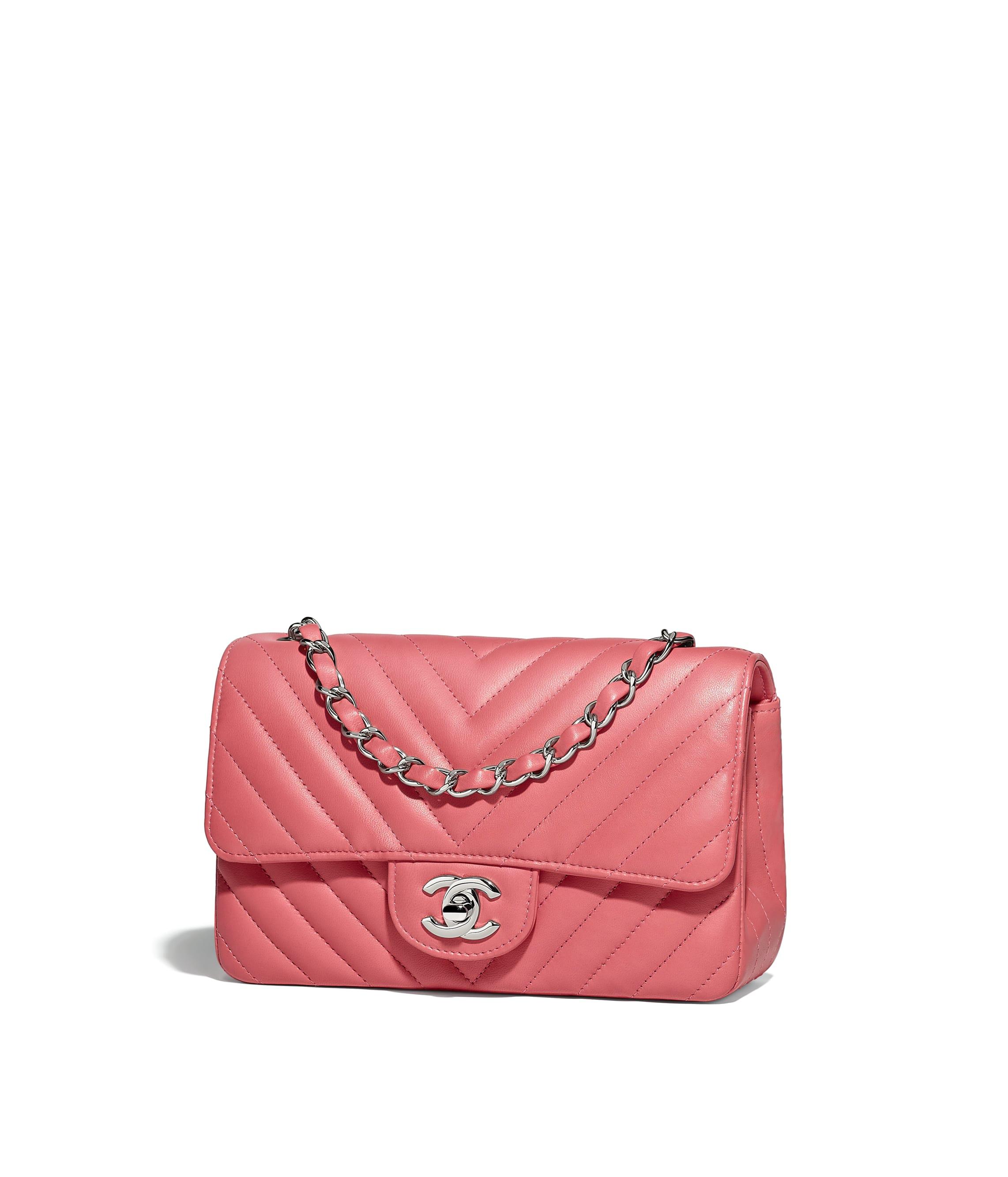 81da22662e47 Mini Flap Bag, lambskin, pink - CHANEL
