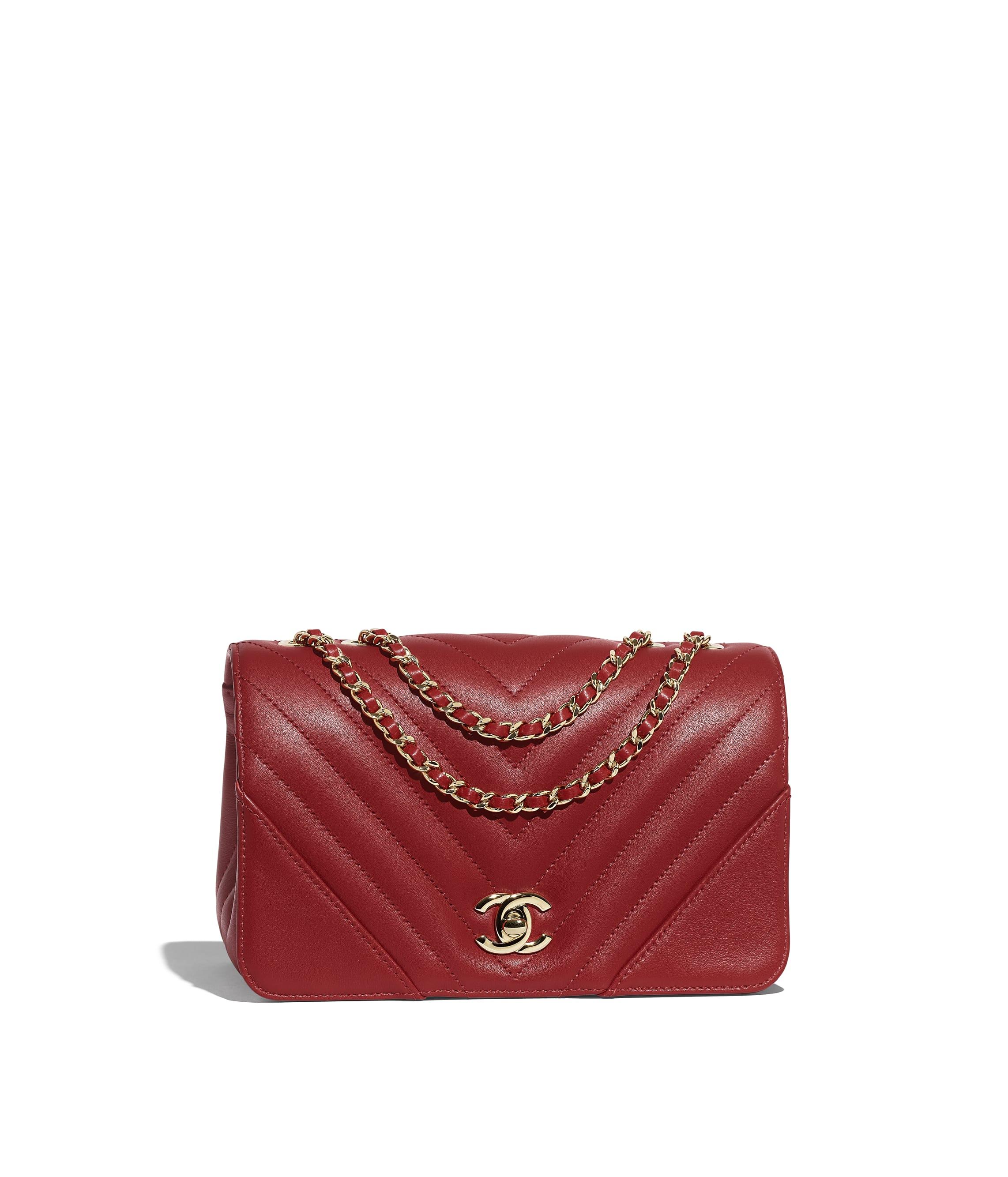 Mini Flap Bag Calfskin Gold Tone Metal Red Chanel
