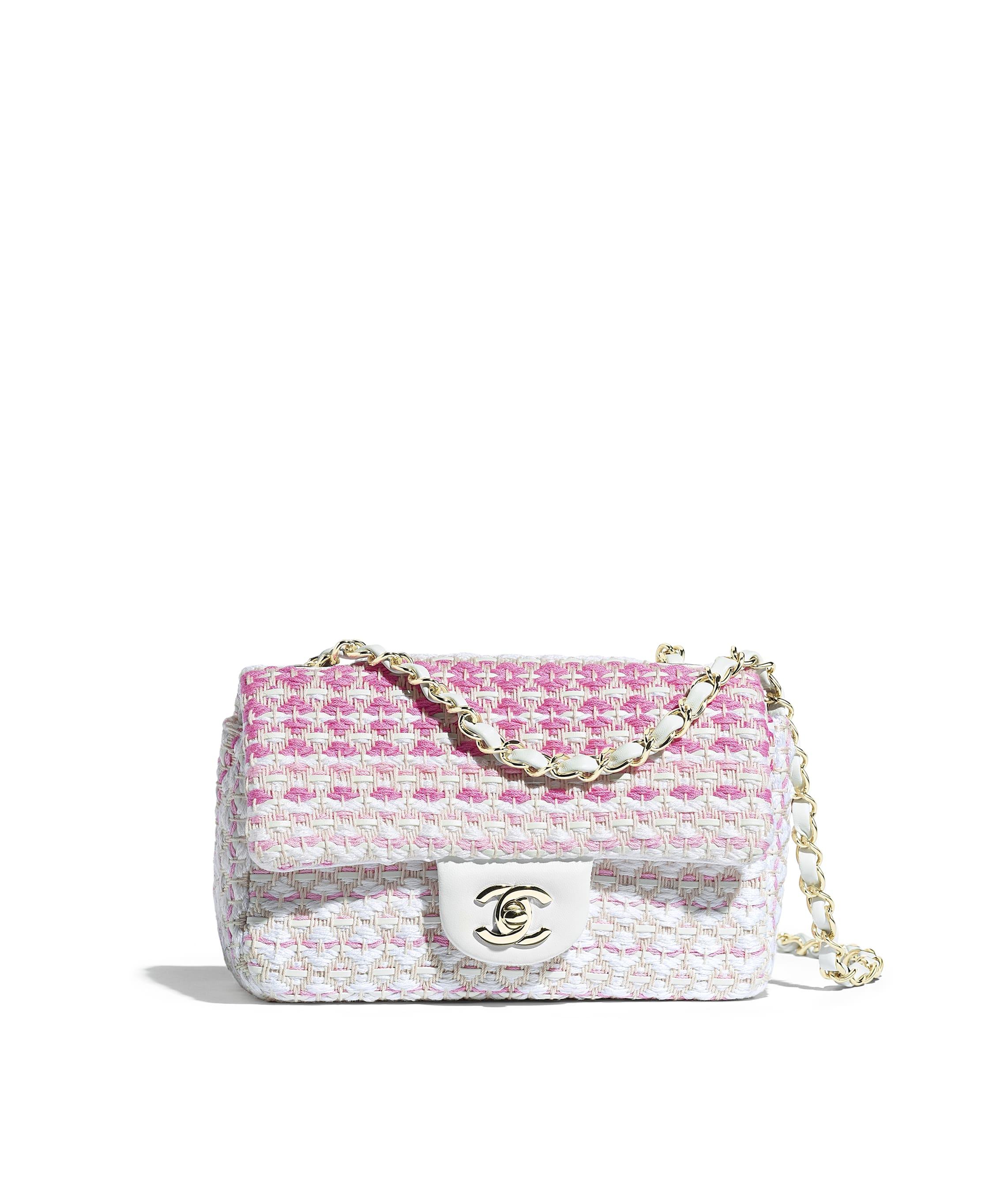 94b41d6ec531 Mini Flap Bag, lambskin, cotton & gold-tone metal, white & pink - CHANEL