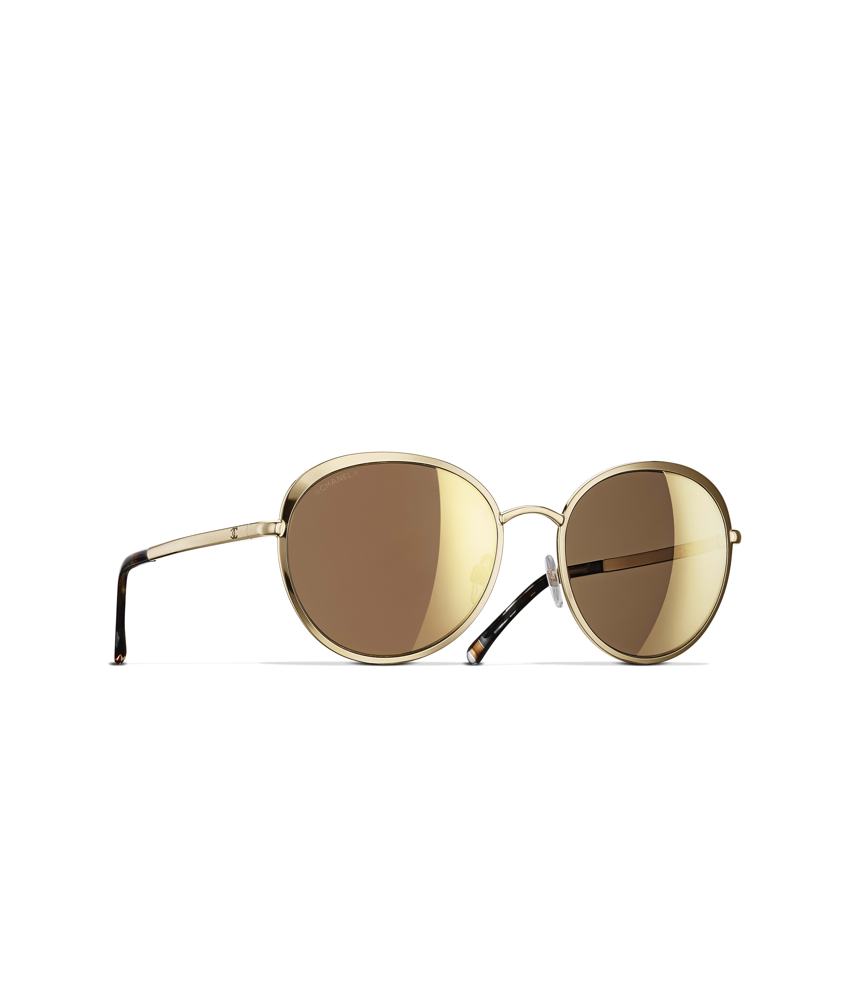 e6d61ea70 Round Sunglasses, metal, 18-karat gold lenses, gold - CHANEL