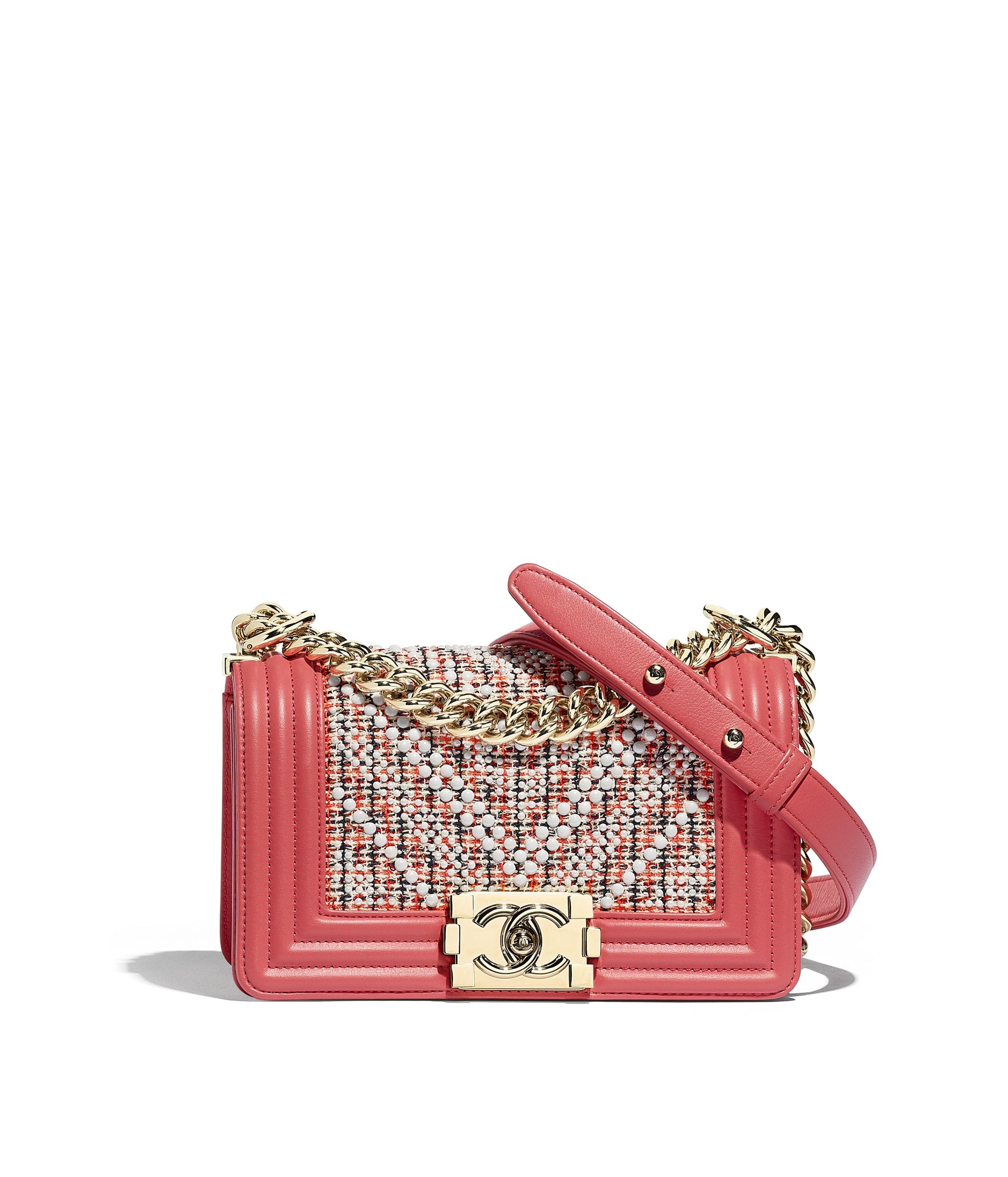 1dfa28248c9728 Small BOY CHANEL Handbag, tweed, calfskin & gold-tone metal, red ...