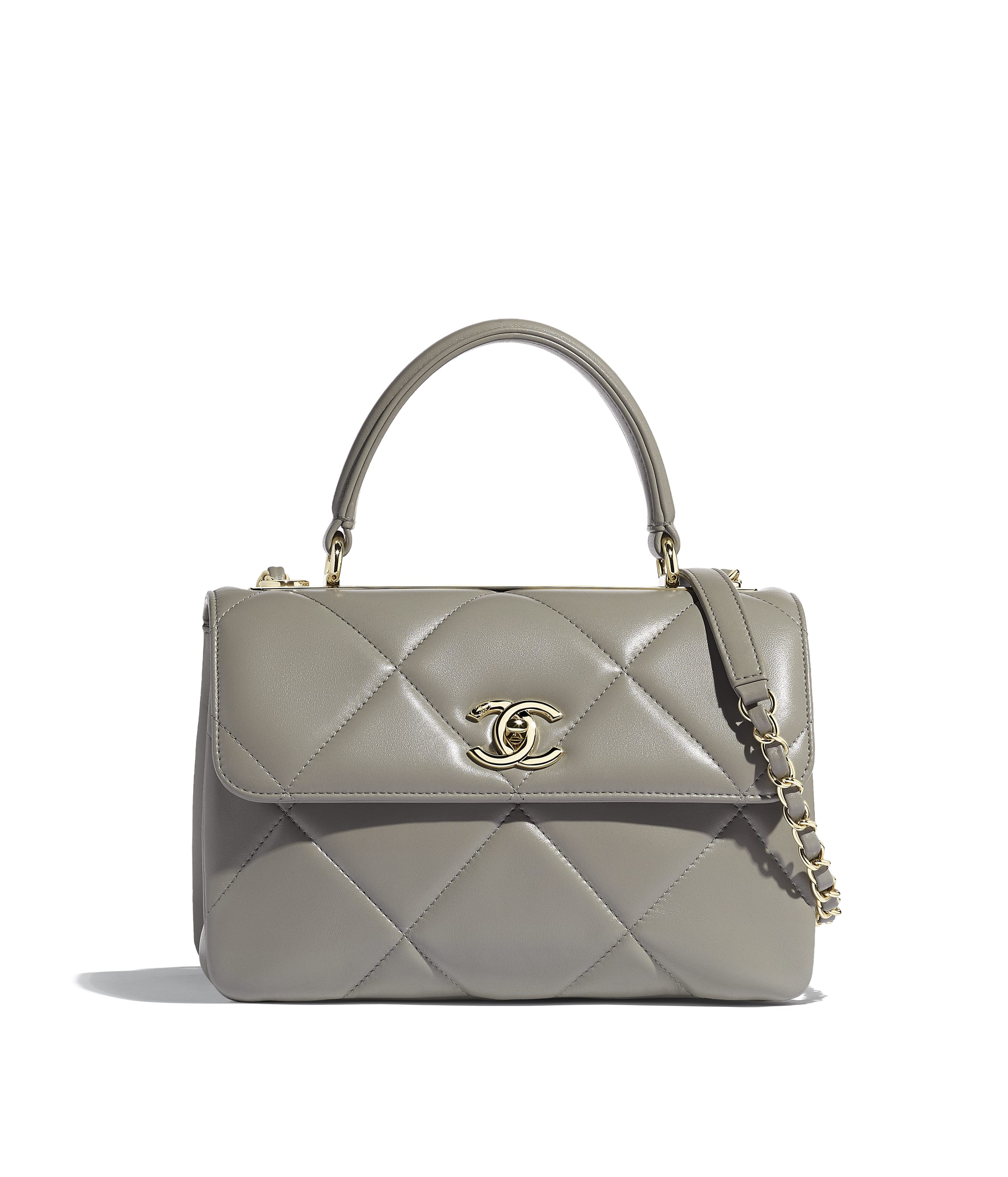 aad17ca4a7 Small Flap Bag with Top Handle, lambskin & gold-tone metal, gray ...