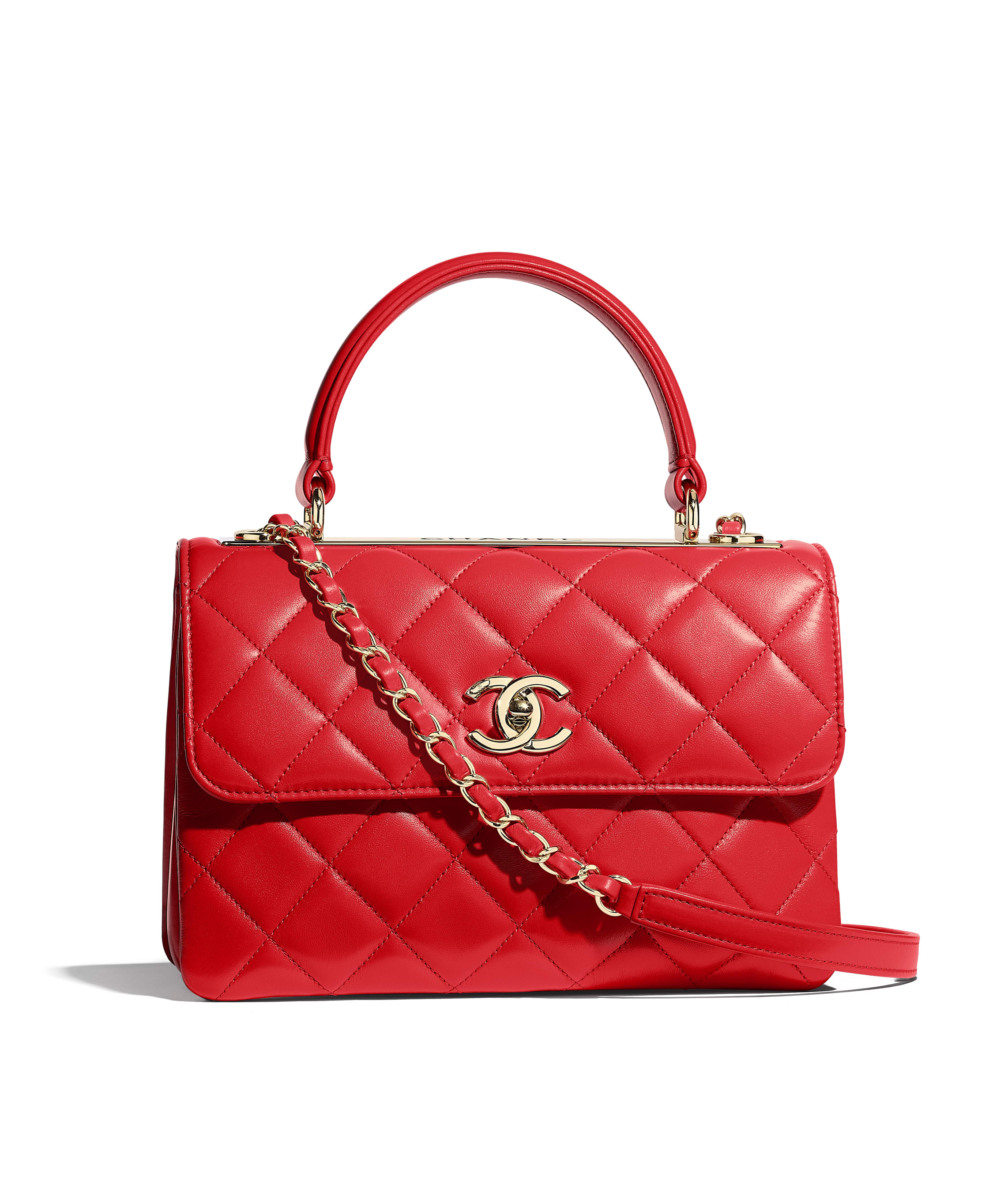bd3982e547 Small Flap Bag with Top Handle, lambskin & gold-tone metal, red - CHANEL