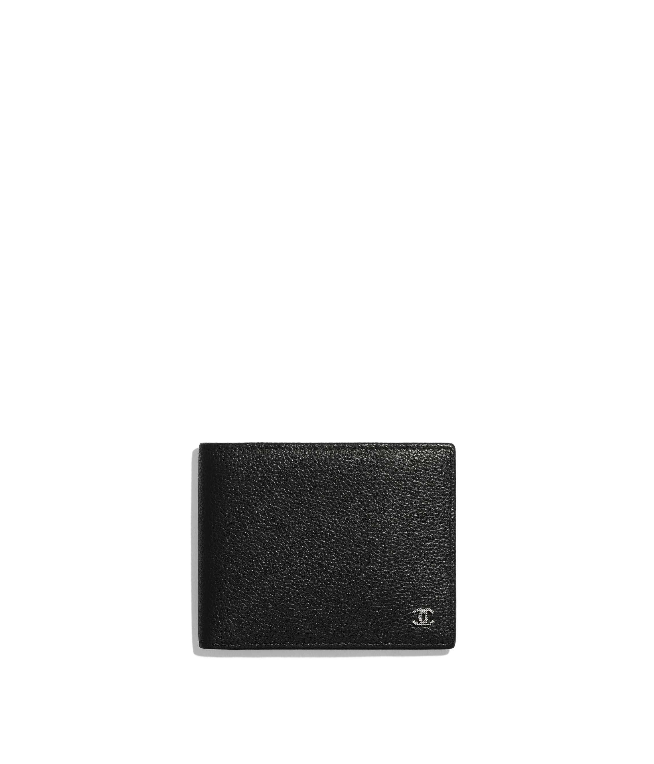 cacd328ed39e Small Flap Wallet, grained calfskin & ruthenium-finish metal, black ...
