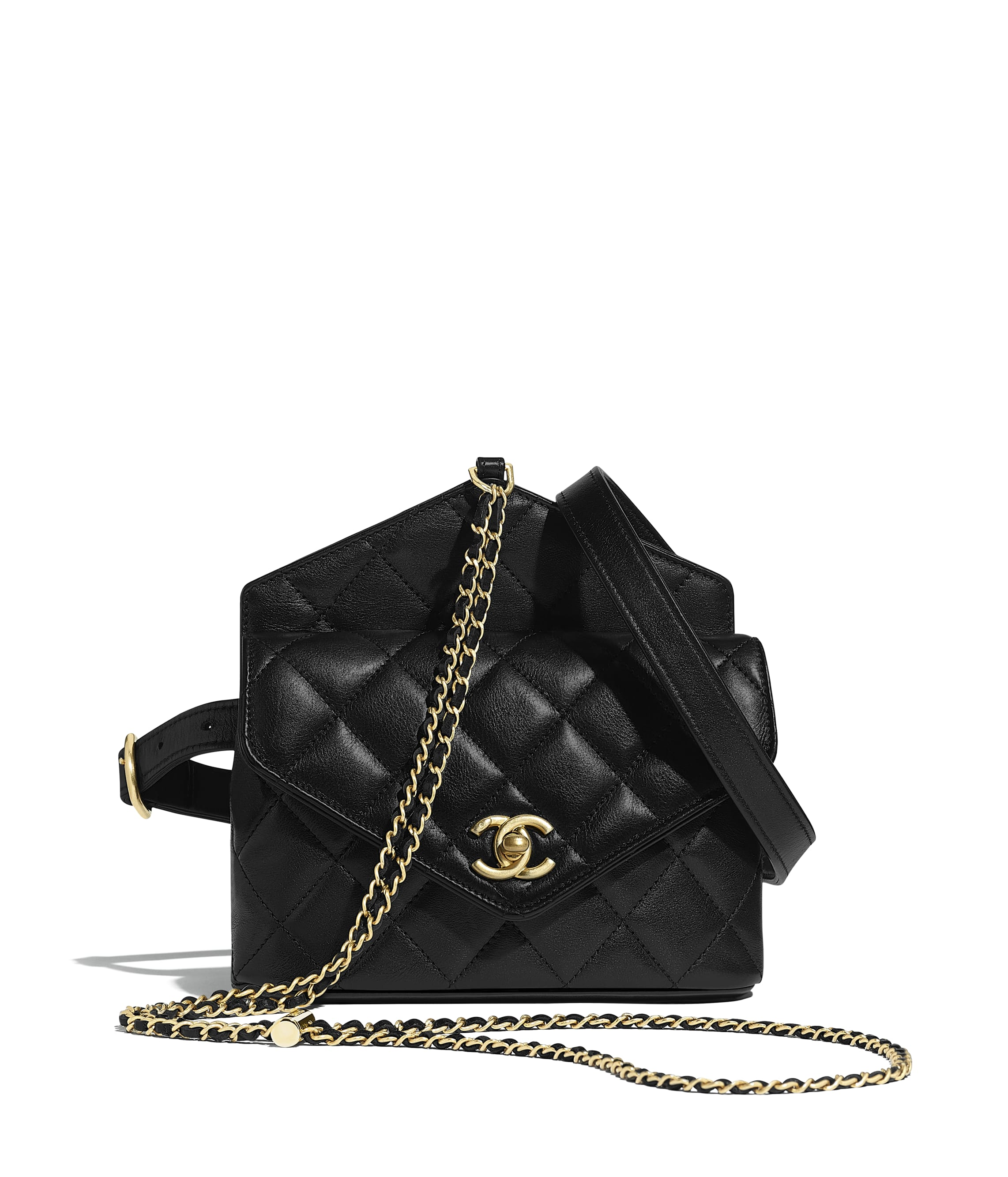 302663aebe Waist Bag, calfskin & gold-tone metal, black - CHANEL