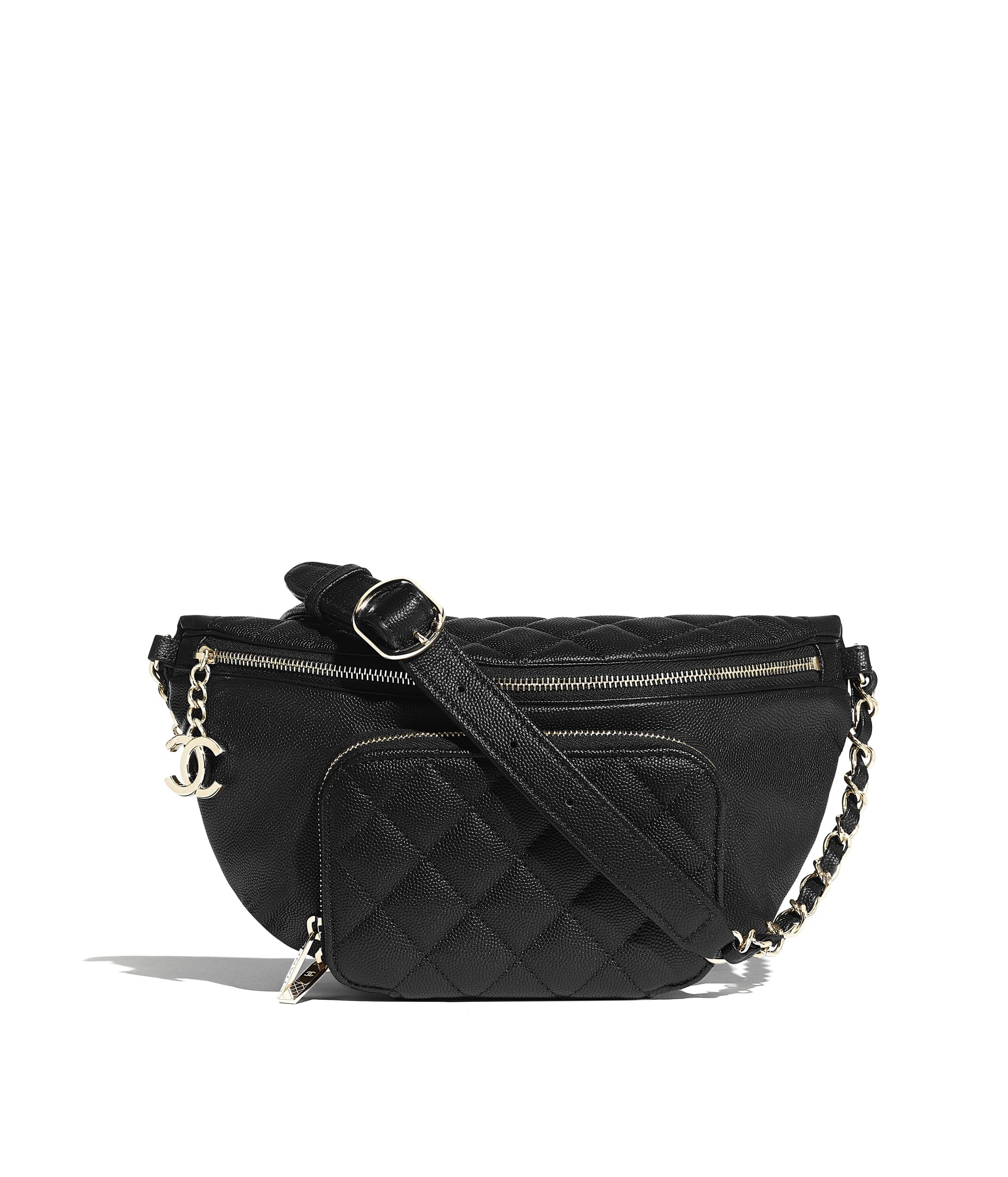 e6ec10521454 Waist Bag, grained calfskin & gold-tone metal, black - CHANEL