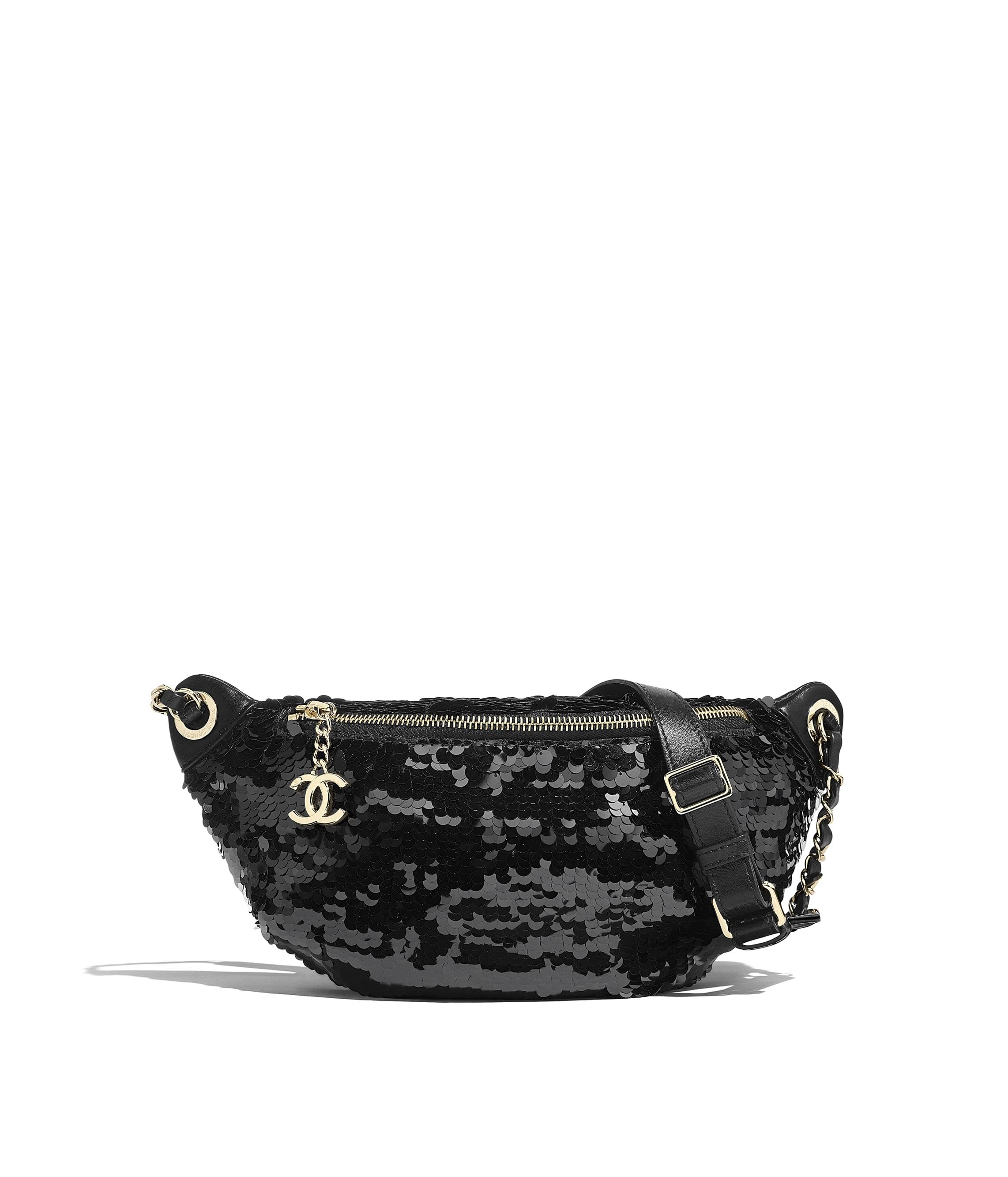 f5ca5c49797 Waist Bag, sequins, lambskin & gold-tone metal, black - CHANEL