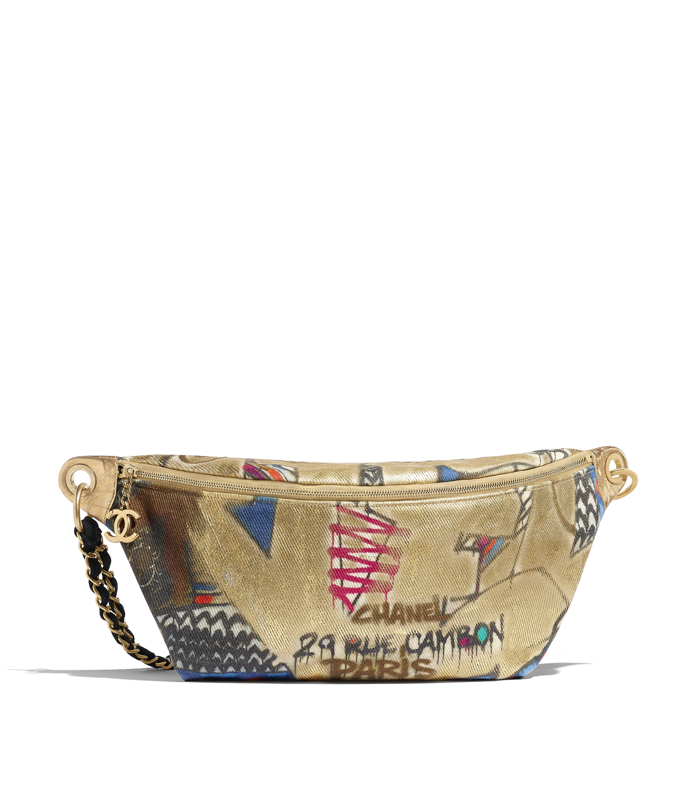 fa5c5cac69bdd Waist Bag, calfskin, cotton & gold-tone metal, multicolor - CHANEL
