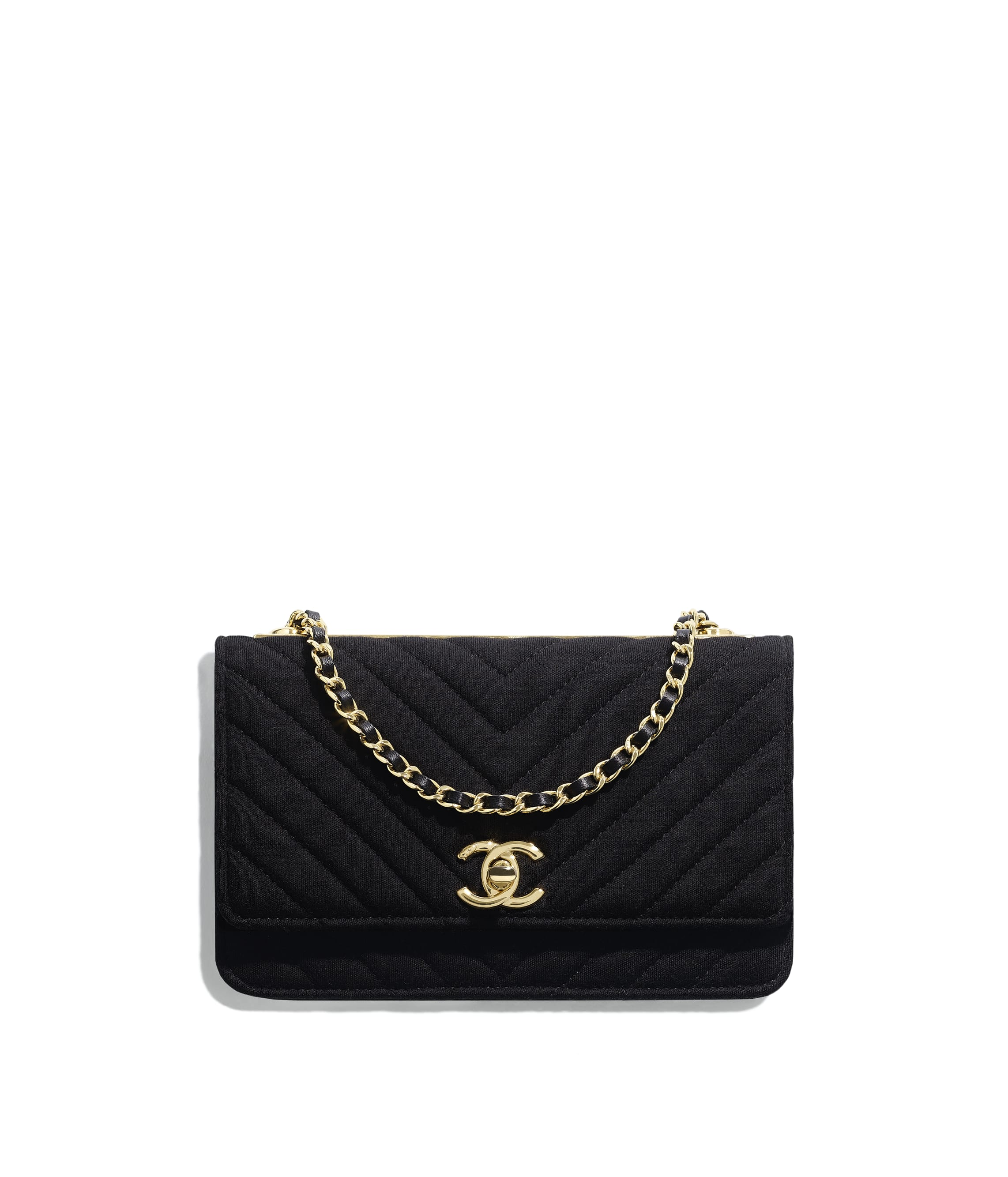 0f9e7a5cfd0d Wallet on Chain, jersey & gold-tone metal, black - CHANEL