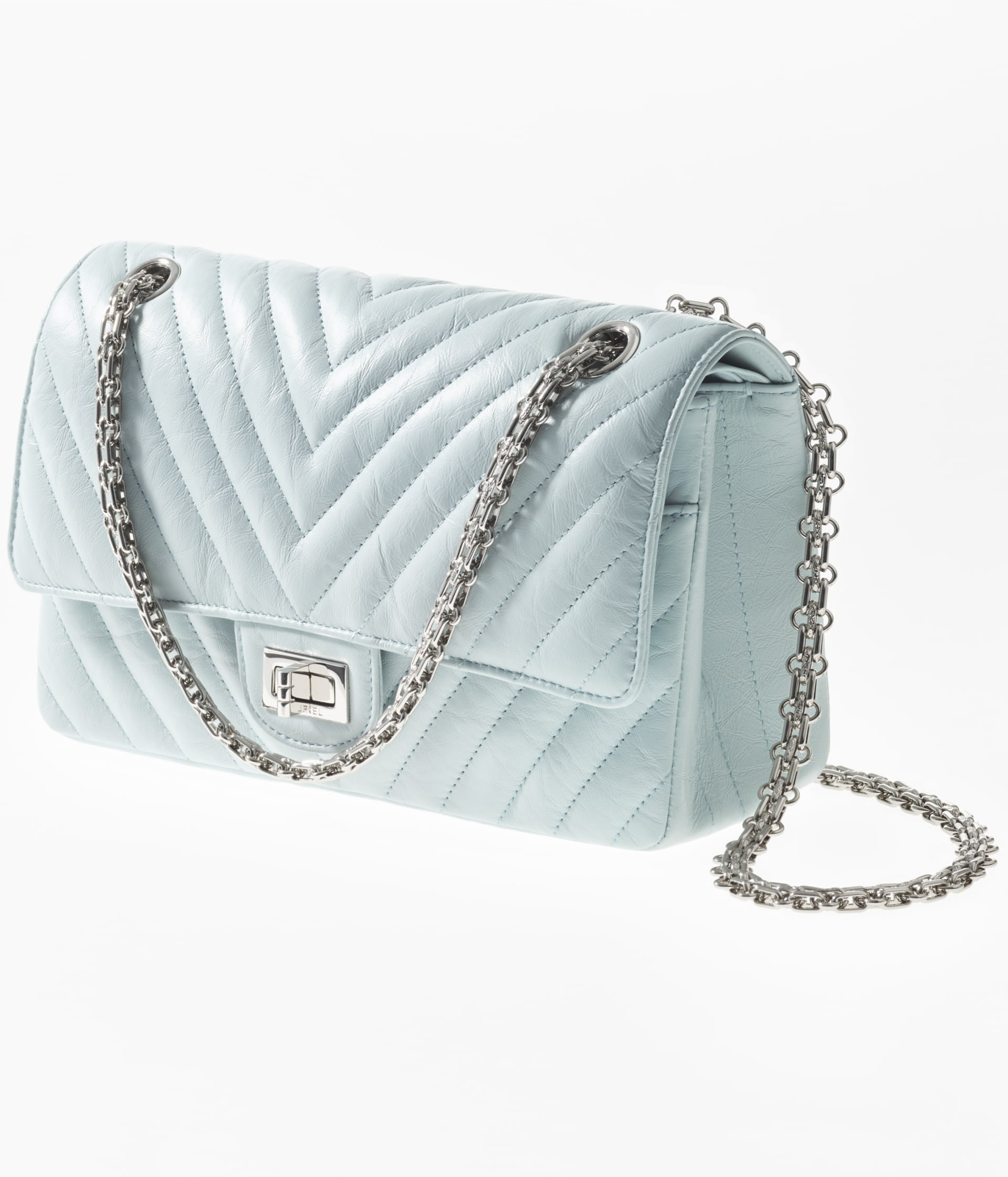image 2 - 2.55 Handbag - Aged Calfskin & Silver-Tone Metal - Light Blue