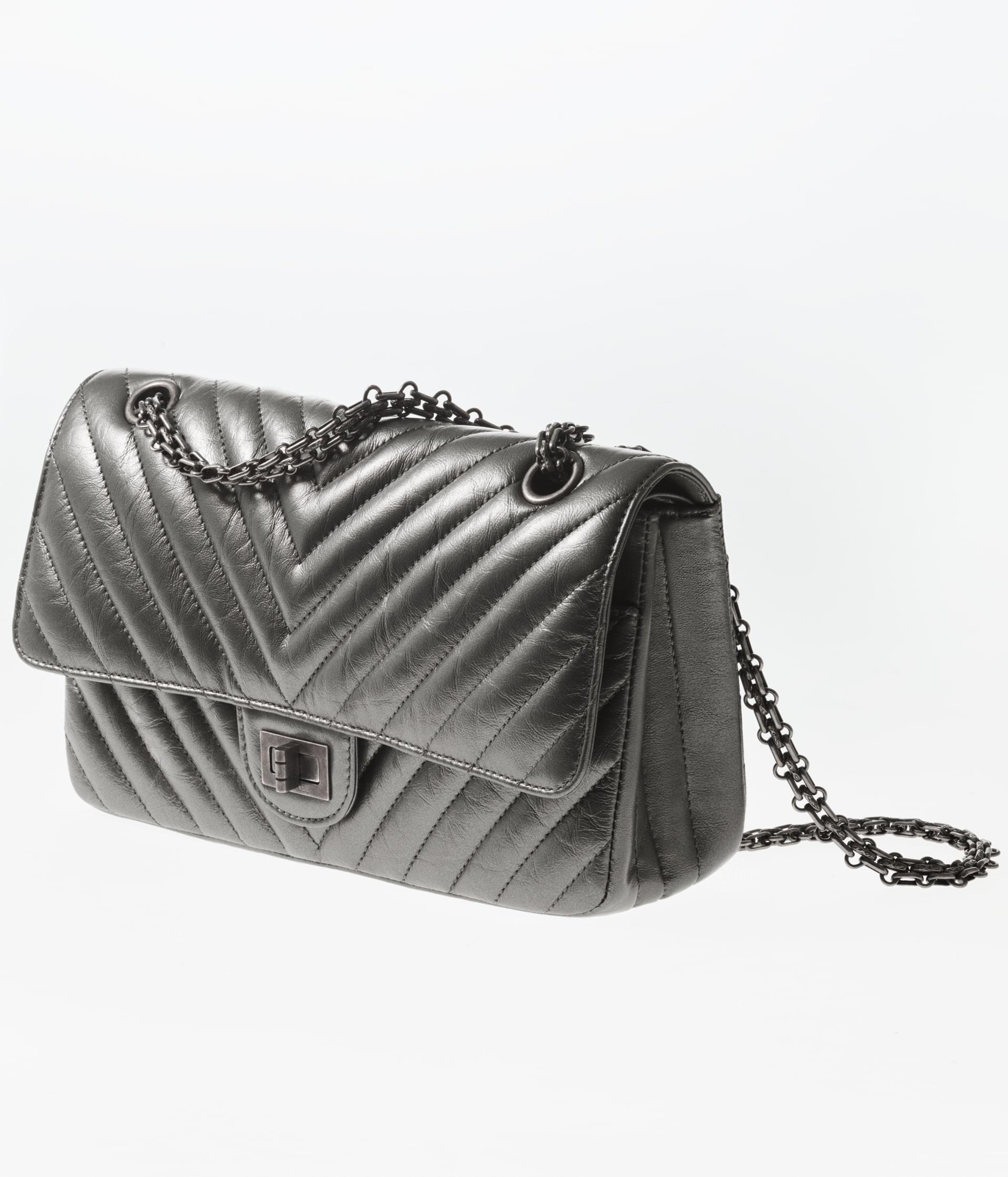 image 2 - 2.55 Handbag - Metallic Aged Calfskin & Ruthenium-Finish Metal - Ruthenium