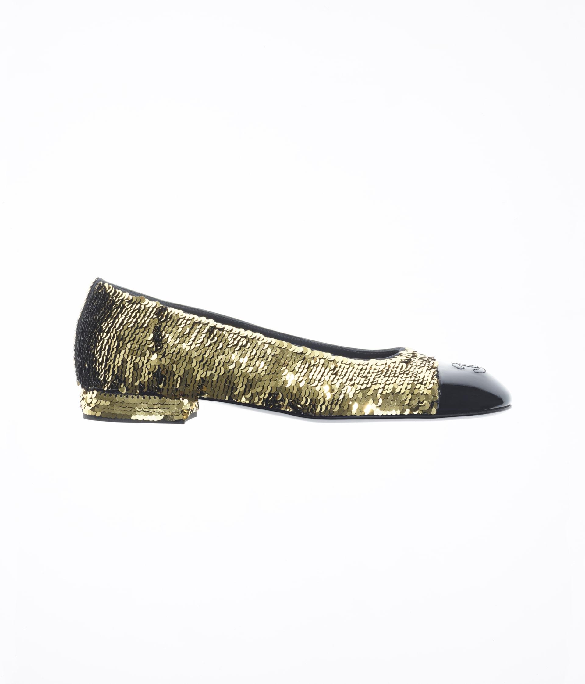 image 1 - Ballerinas - Sequins & Patent Calfskin - Gold & Black