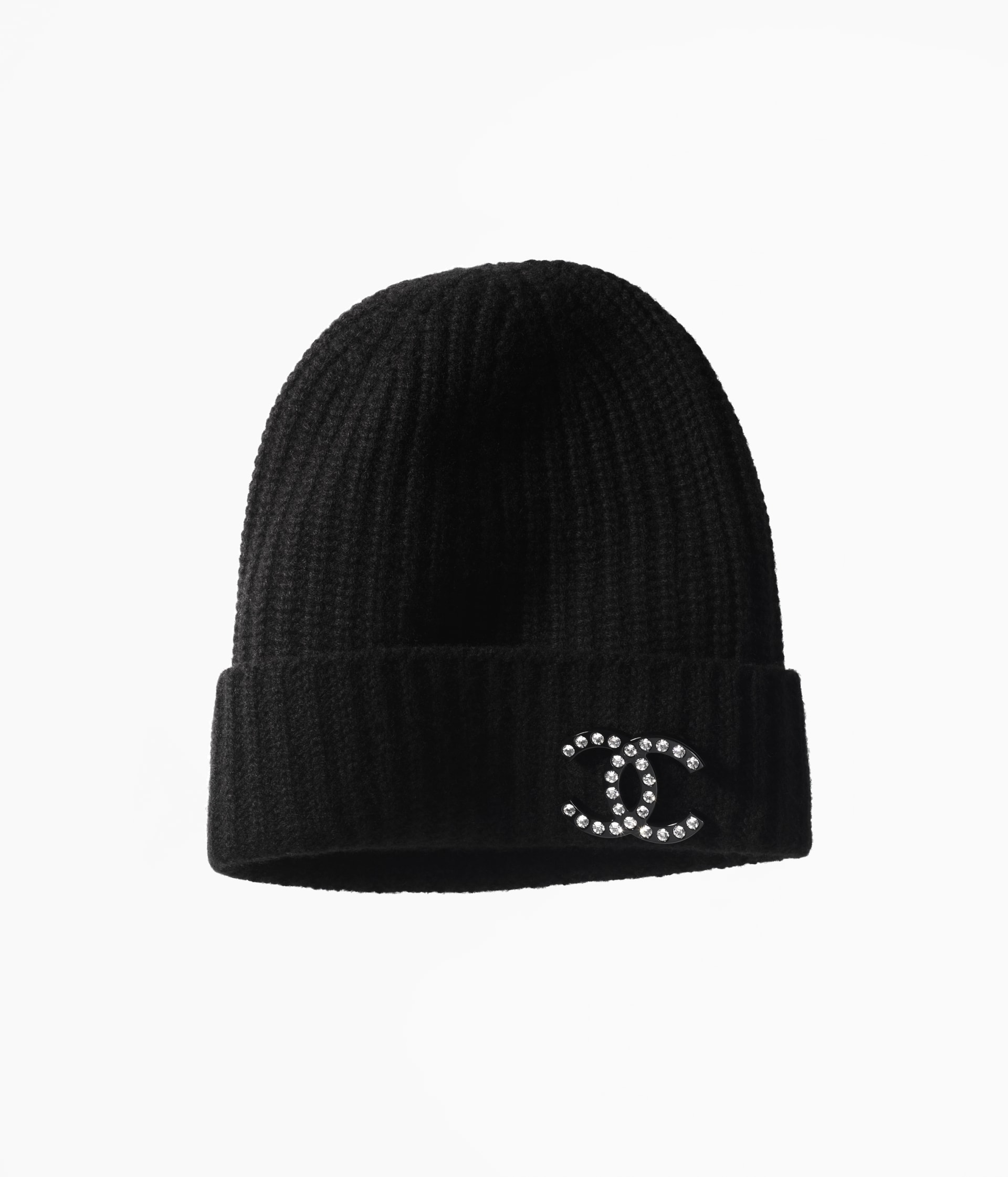 image 1 - Beanie - Cashmere, Resin & Strass - Black & Crystal