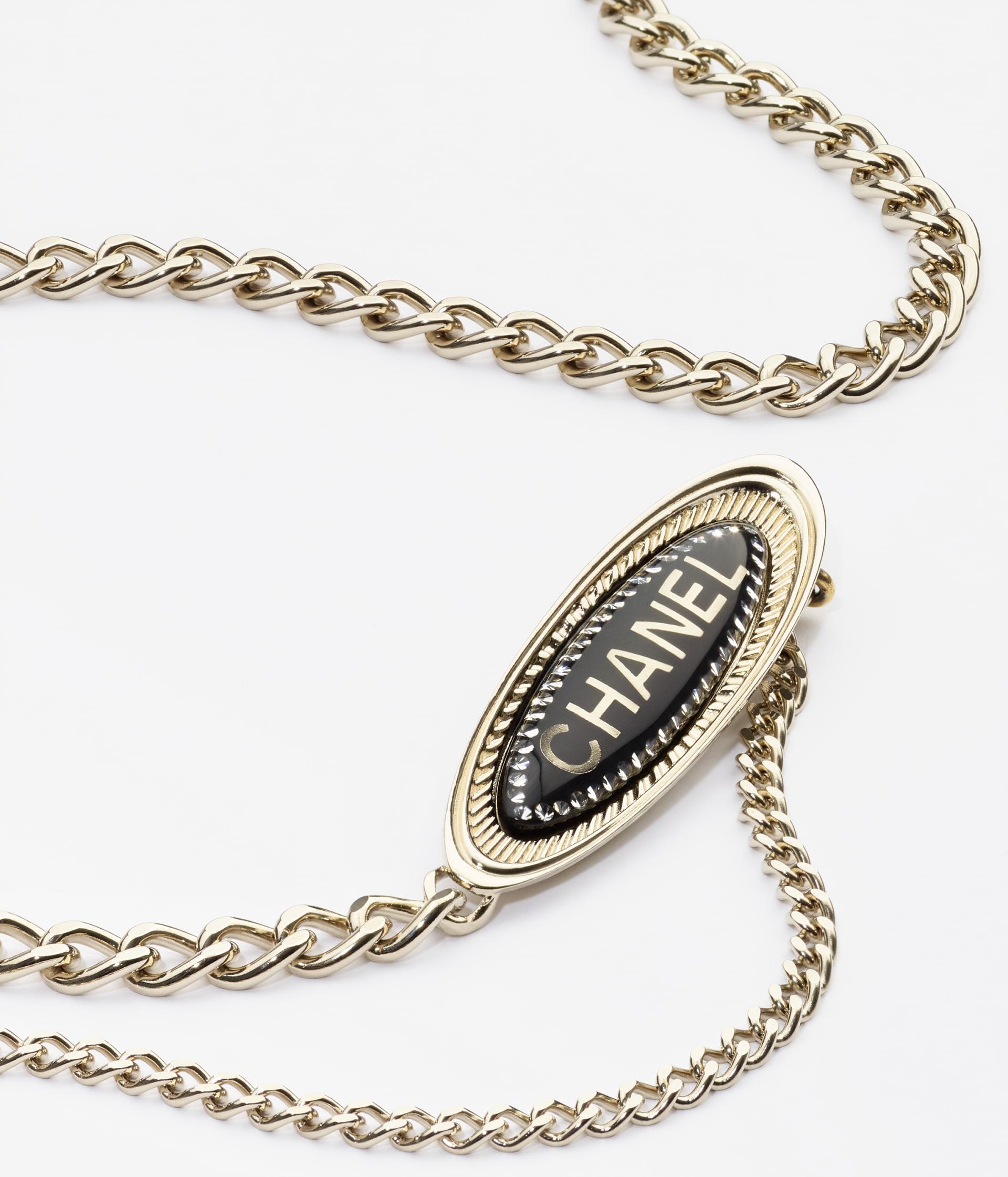 image 2 - Belt - Metal, Resin & Strass - Gold, Black & Crystal