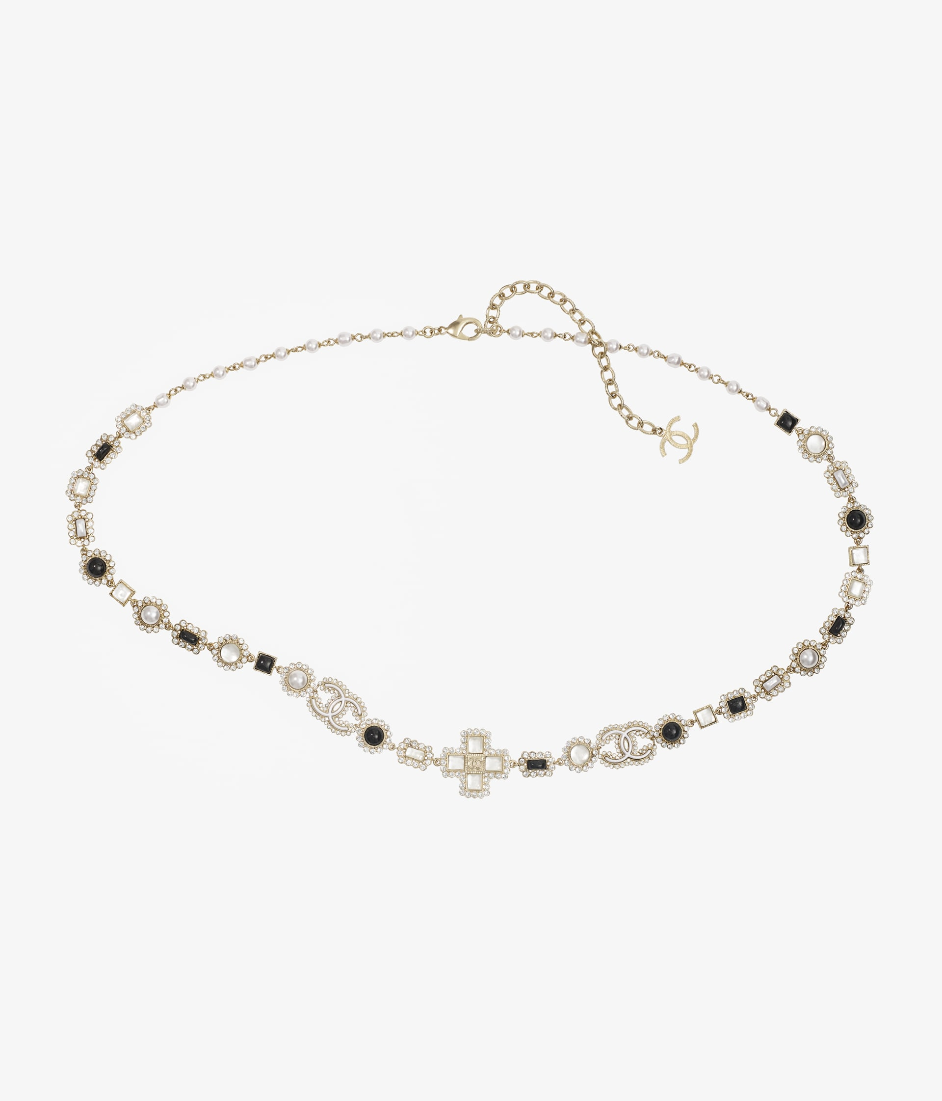 image 1 - Belt - Metal, Glass Pearls, Glass & Strass - Gold, Pearly White, Black & Crystal