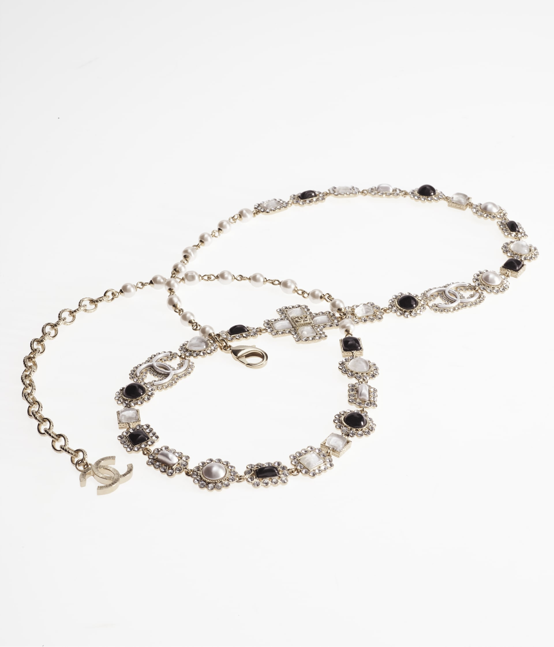 image 2 - Belt - Metal, Glass Pearls, Glass & Strass - Gold, Pearly White, Black & Crystal