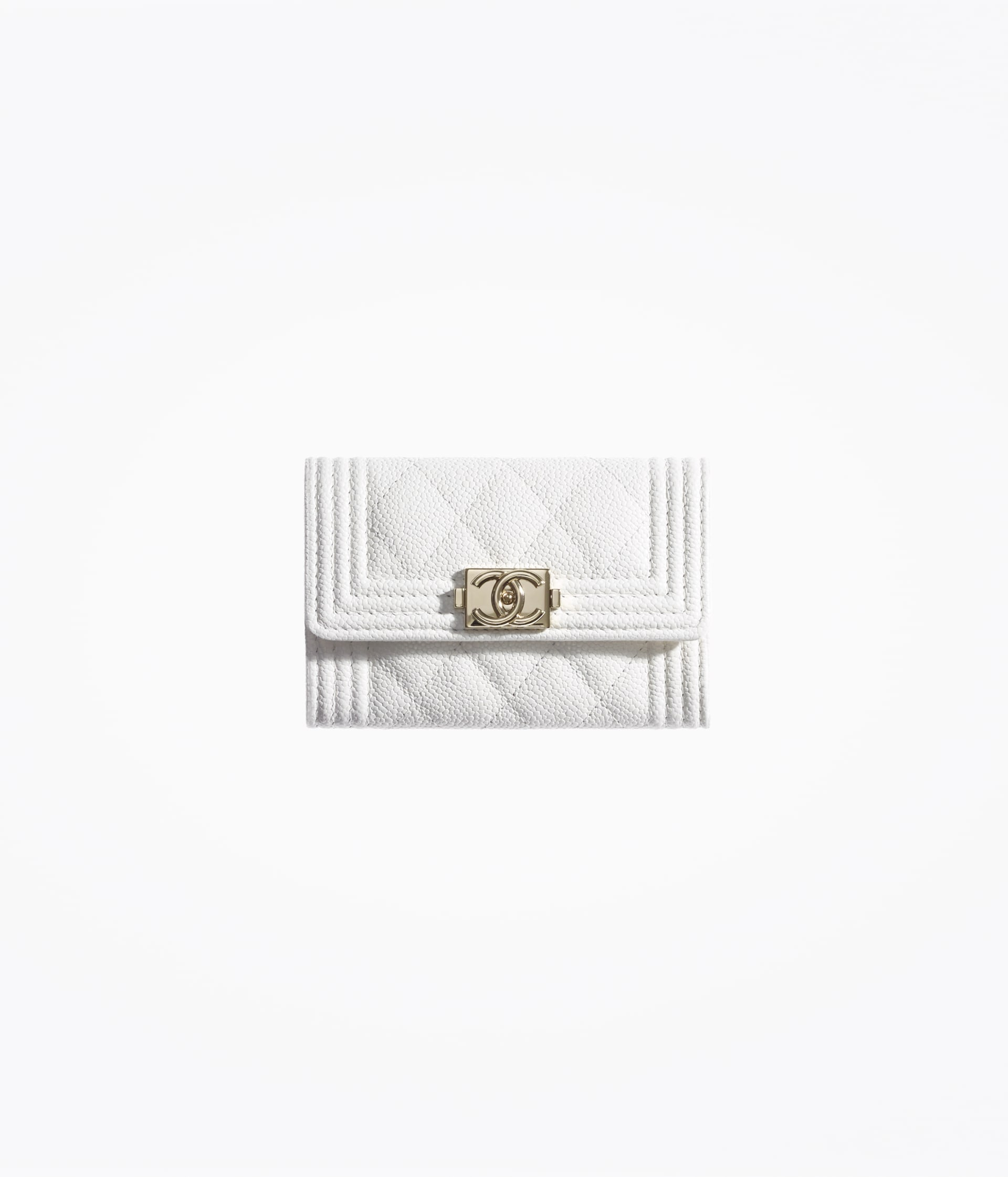 image 1 - BOY CHANEL Flap Card Holder - Grained Calfskin & Gold-Tone Metal - White
