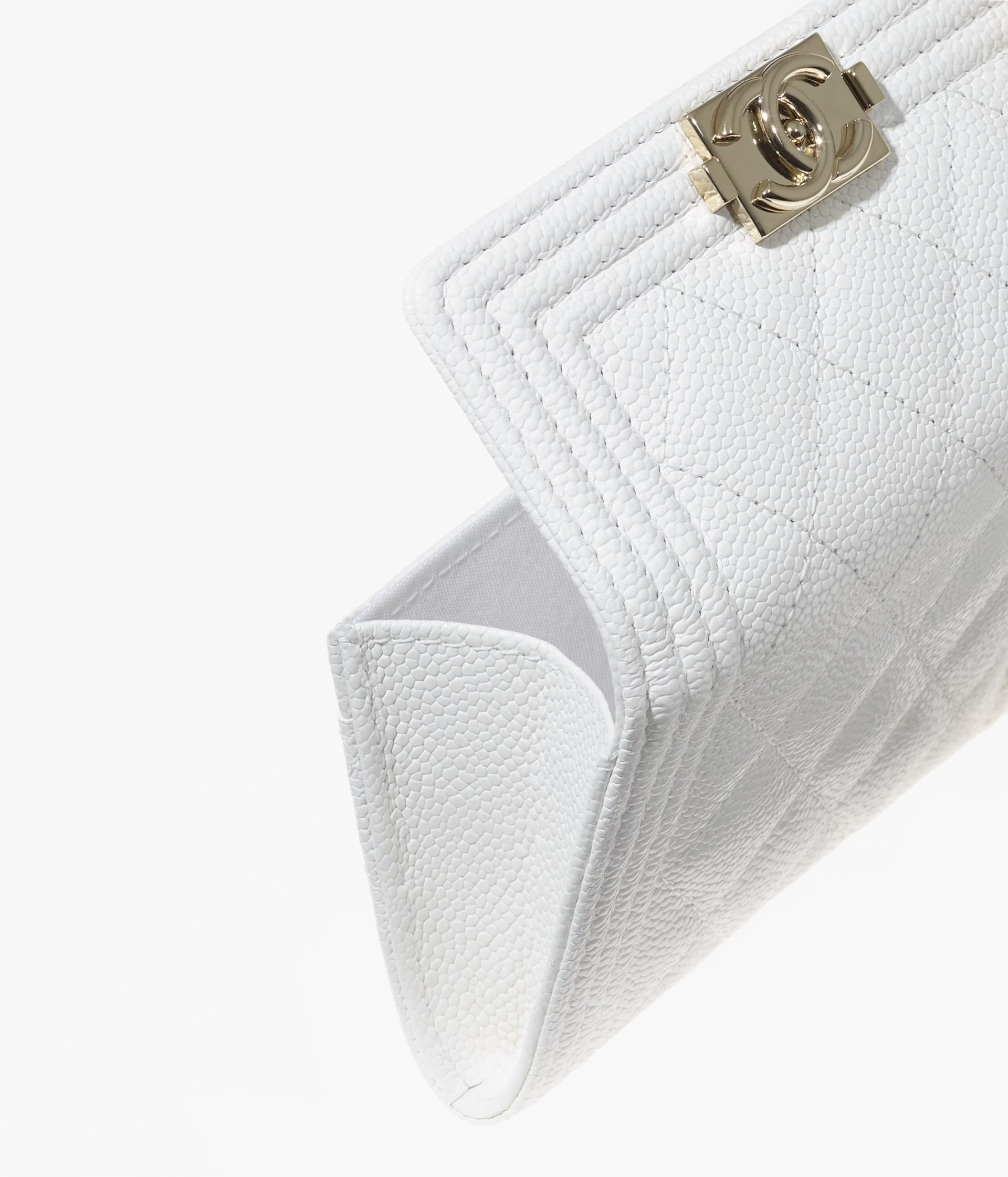 image 2 - BOY CHANEL Flap Card Holder - Grained Calfskin & Gold-Tone Metal - White