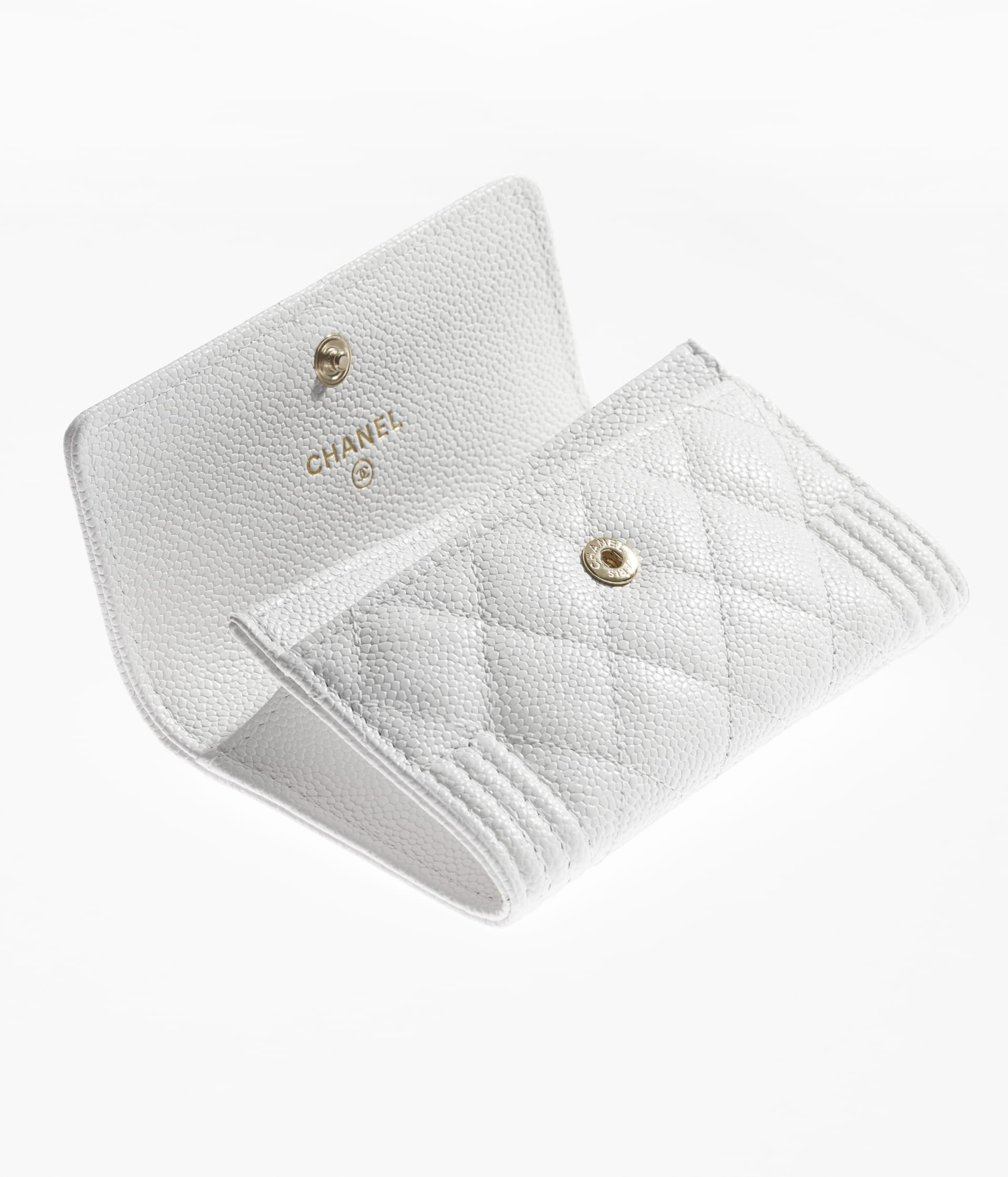 image 3 - BOY CHANEL Flap Card Holder - Grained Calfskin & Gold-Tone Metal - White