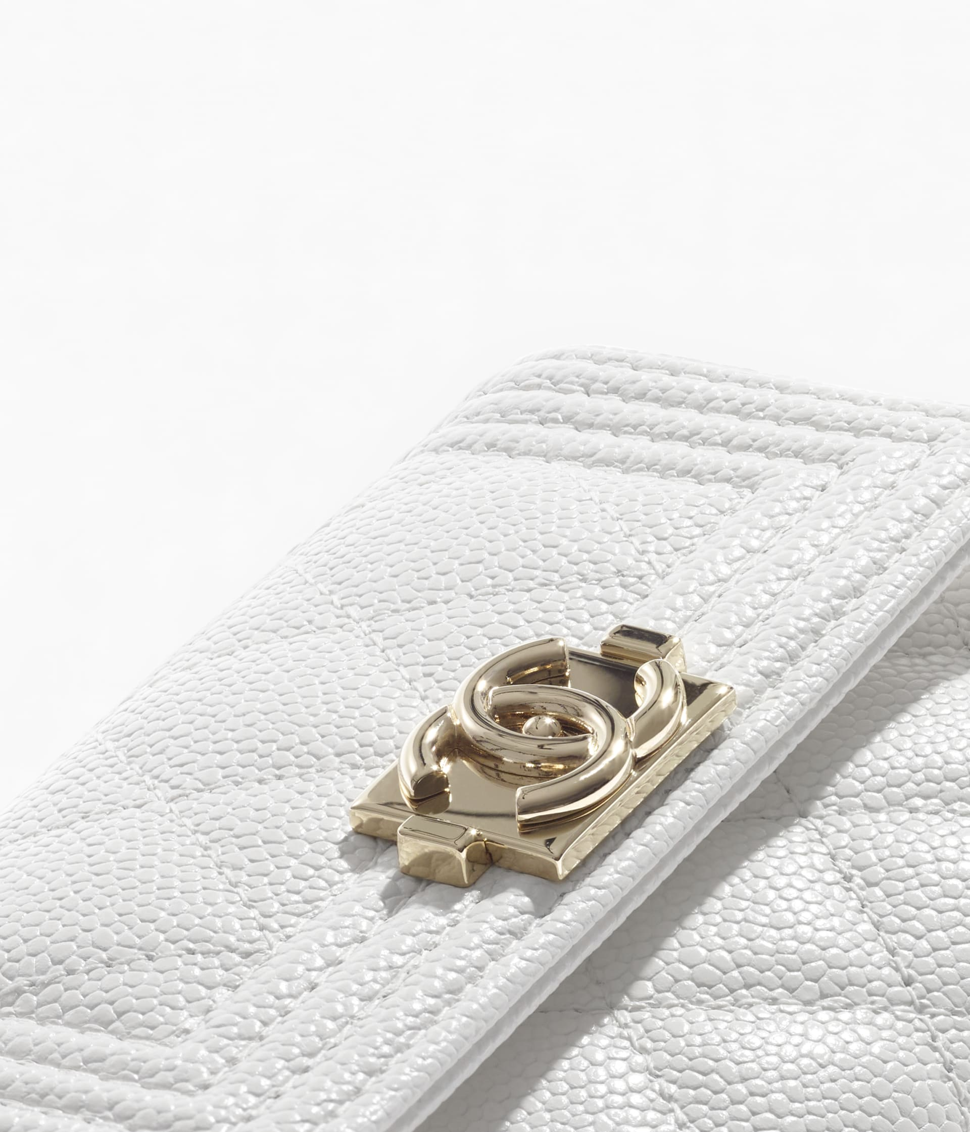 image 4 - BOY CHANEL Flap Card Holder - Grained Calfskin & Gold-Tone Metal - White