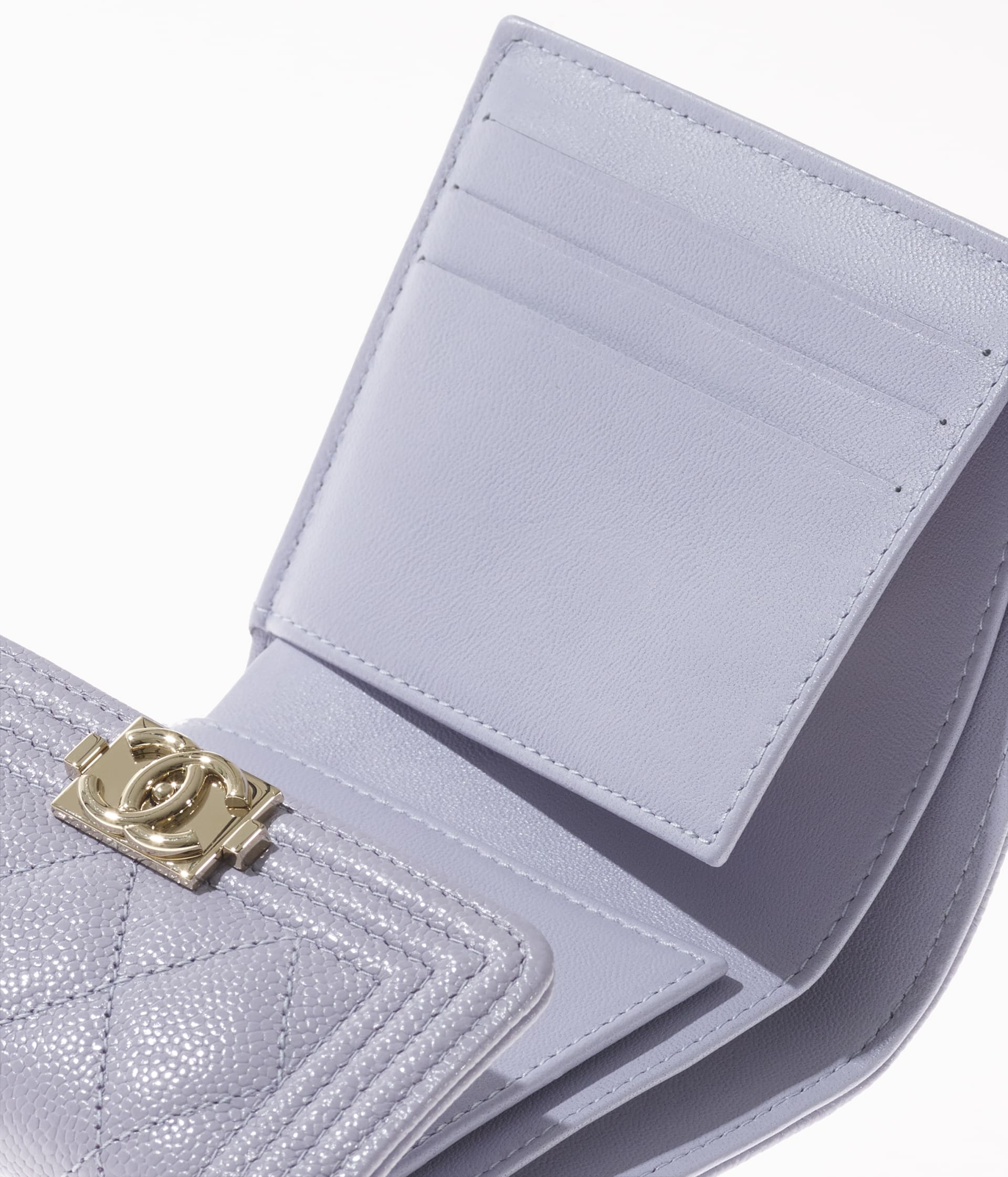 image 3 - BOY CHANEL Small Flap Wallet - Grained Calfskin & Gold-Tone Metal - Light Purple