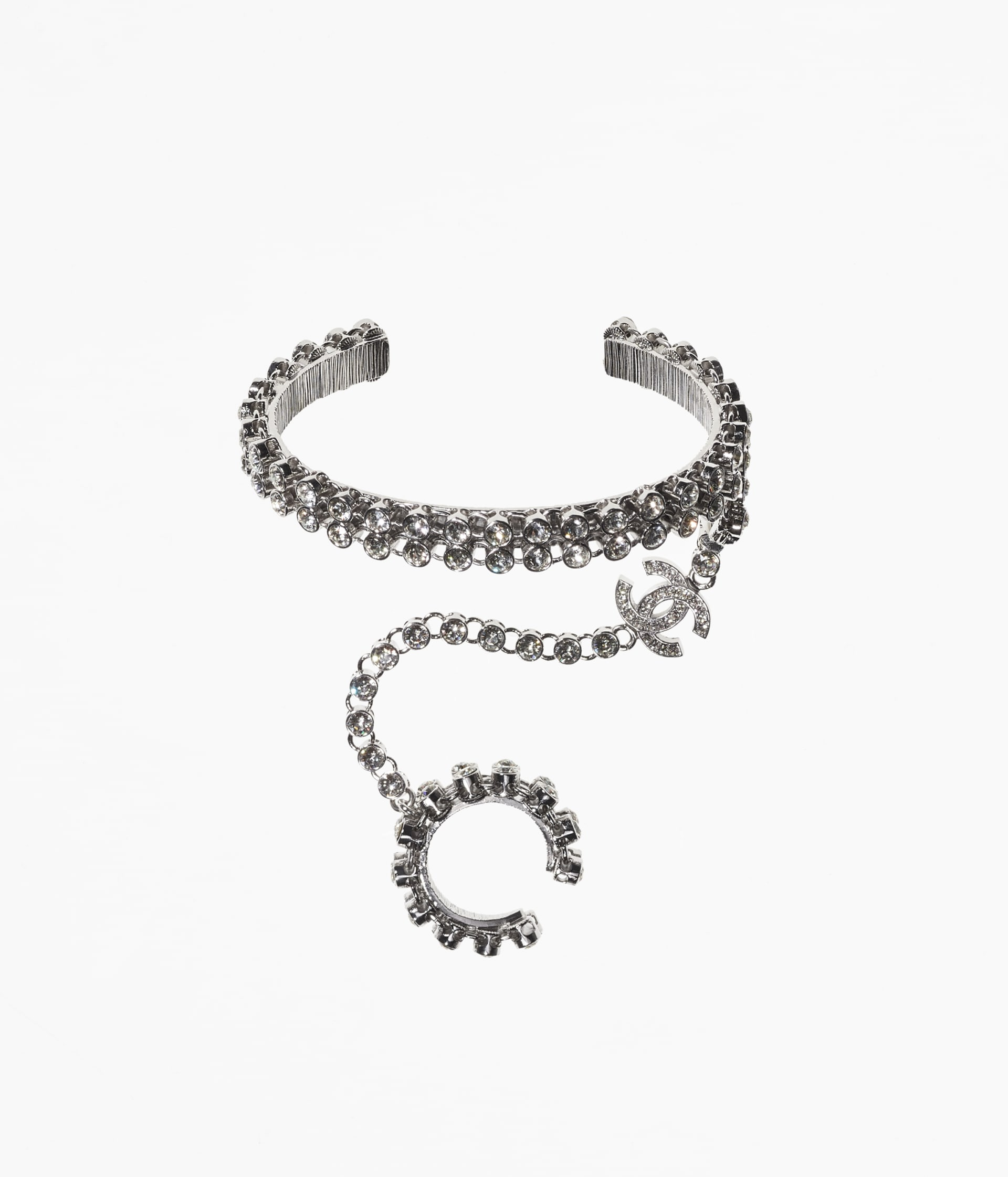 image 1 - Bracelet - Metal, Strass & Glass Pearls - Silver, Crystal & Pearly White