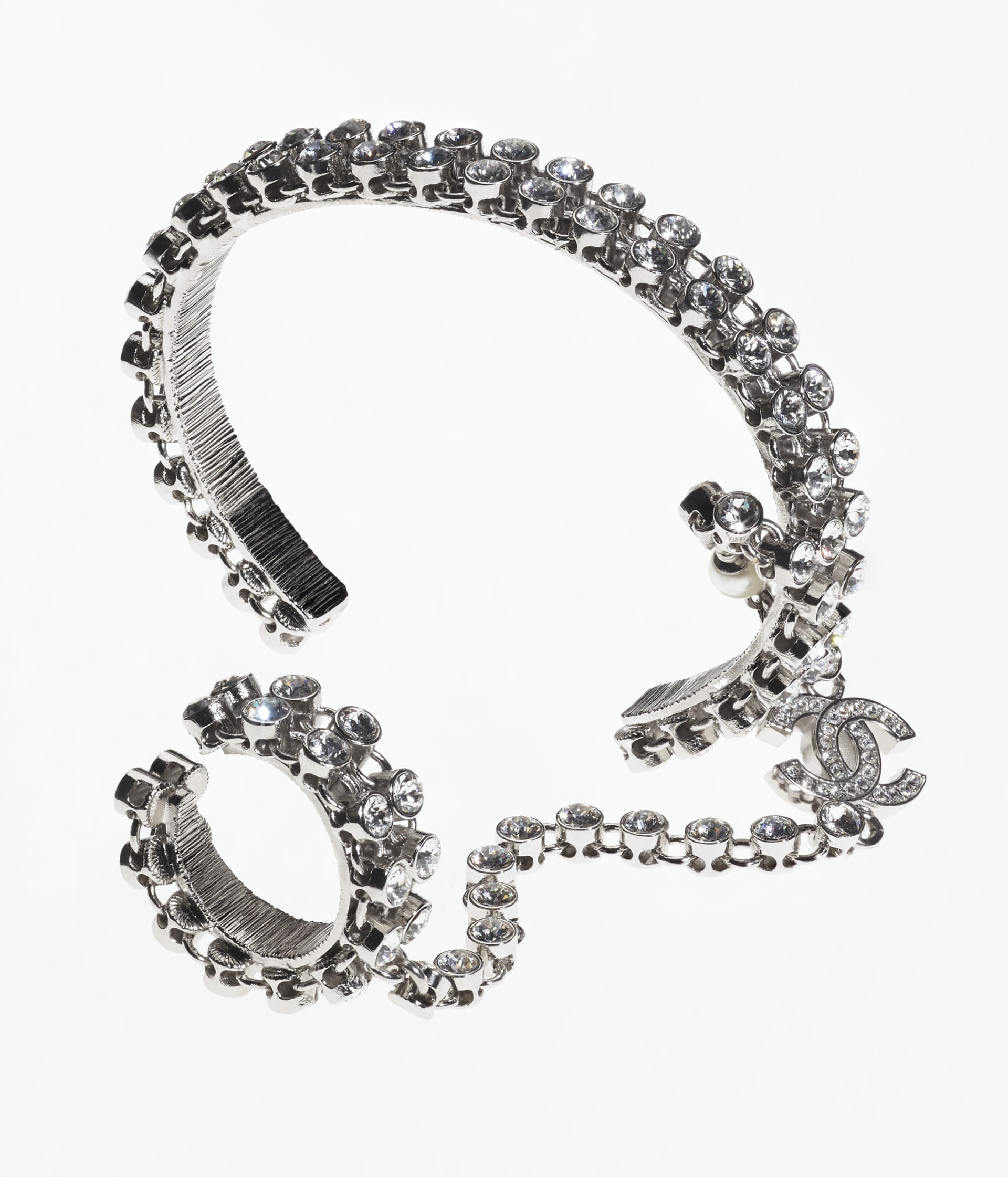 image 2 - Bracelet - Metal, Strass & Glass Pearls - Silver, Crystal & Pearly White