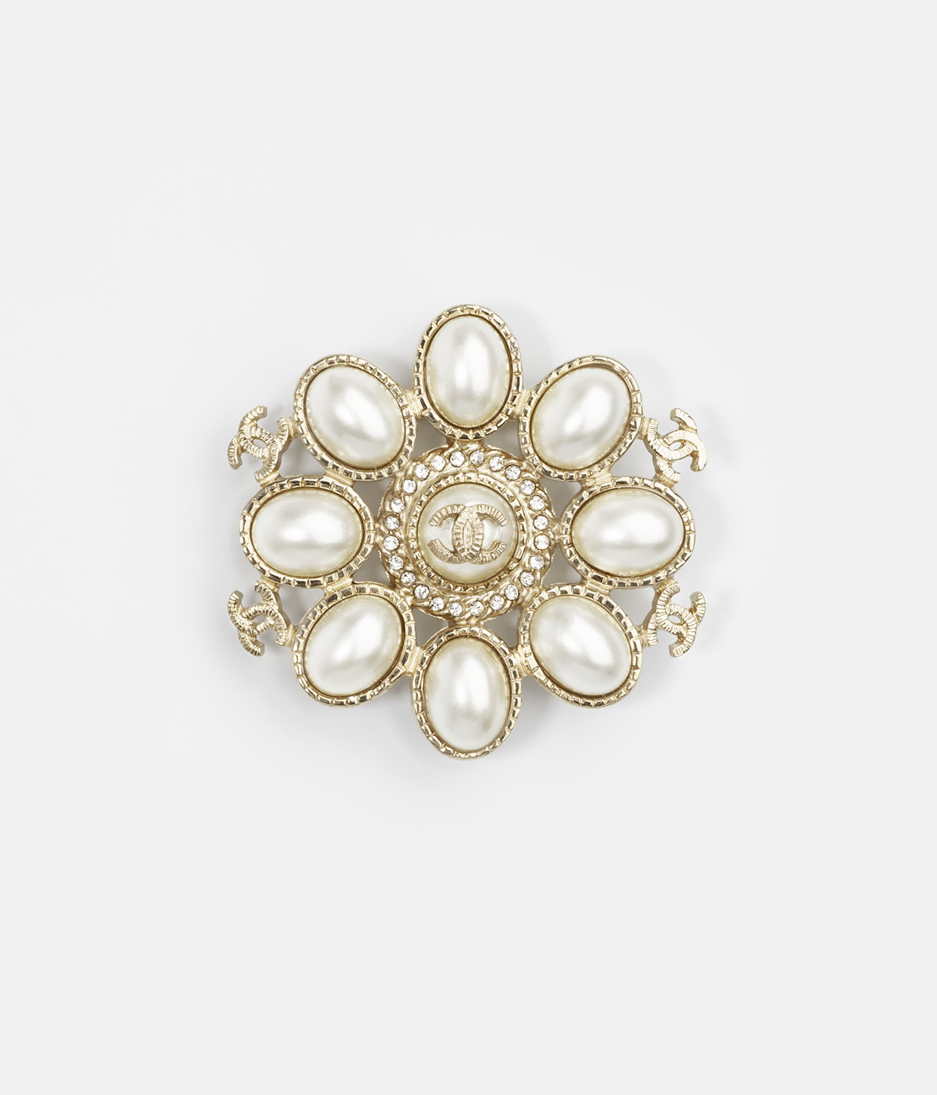 image 1 - Brooch - Metal, Resin & Strass - Gold, Pearly White & Crystal