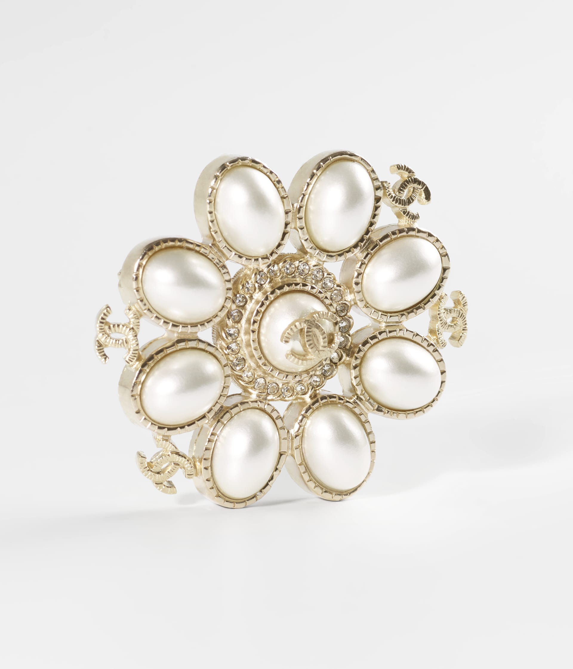 image 2 - Brooch - Metal, Resin & Strass - Gold, Pearly White & Crystal