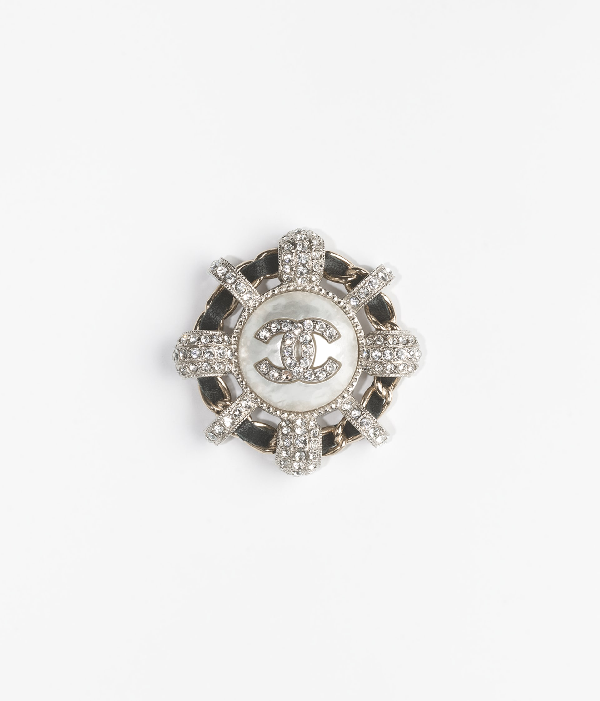 image 1 - Brooch - Metal, Calfskin, Imitation Pearls & Strass - Gold, Silver, Black, Pearly White & Crystal
