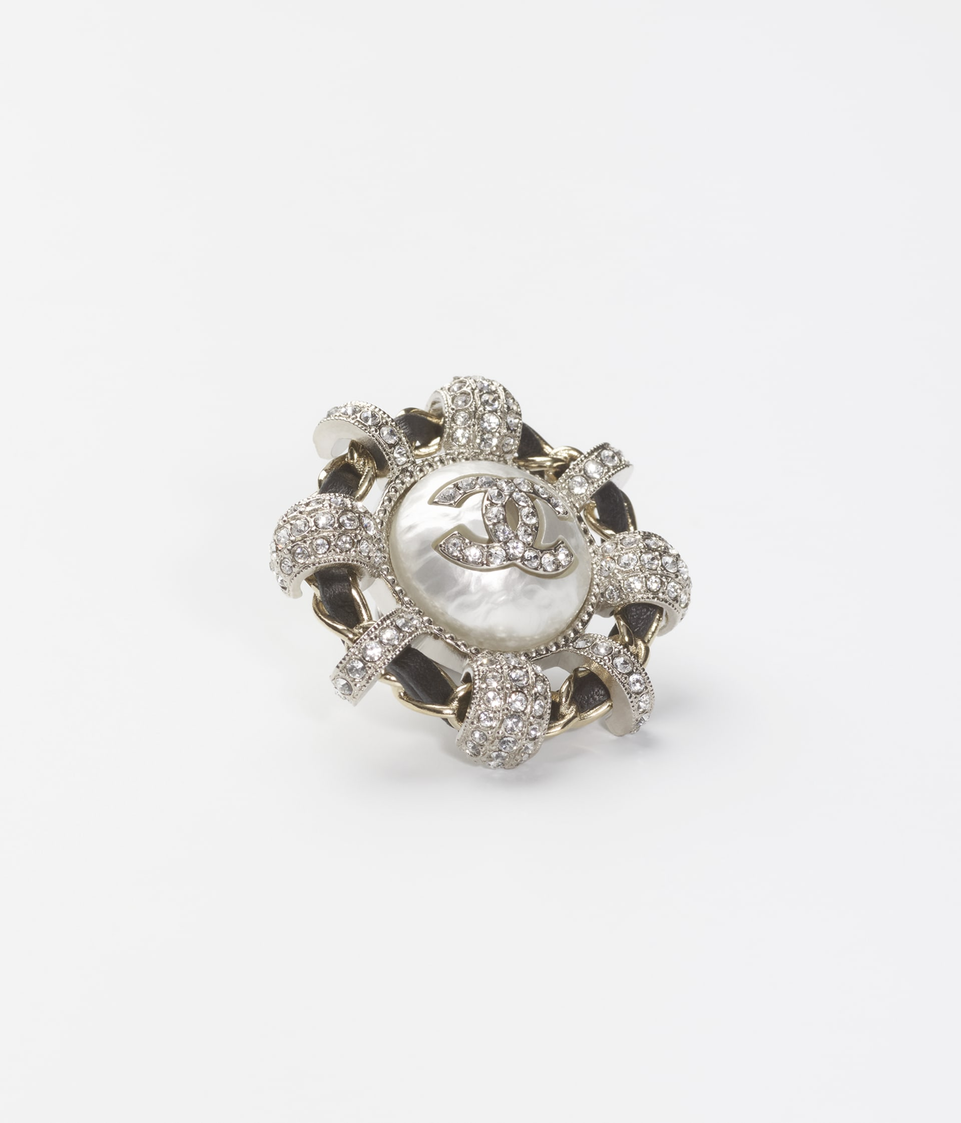 image 2 - Brooch - Metal, Calfskin, Imitation Pearls & Strass - Gold, Silver, Black, Pearly White & Crystal