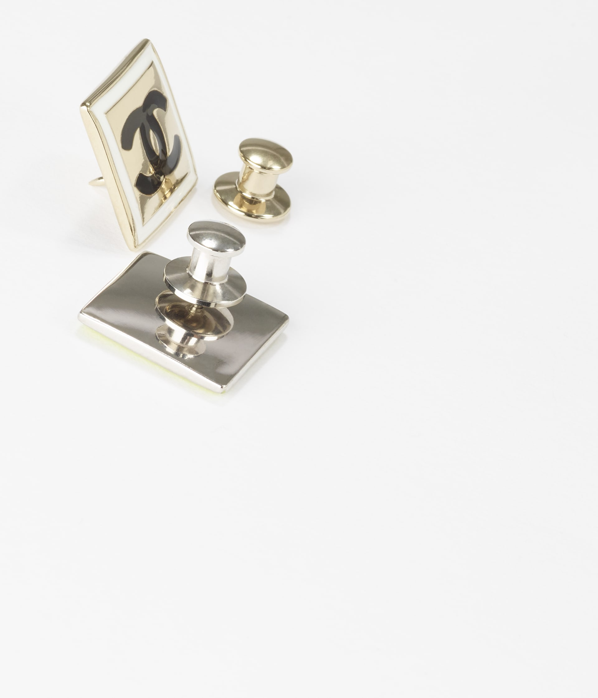 image 2 - Brooch - Metal - Gold, Silver, White, Neon Yellow & Black