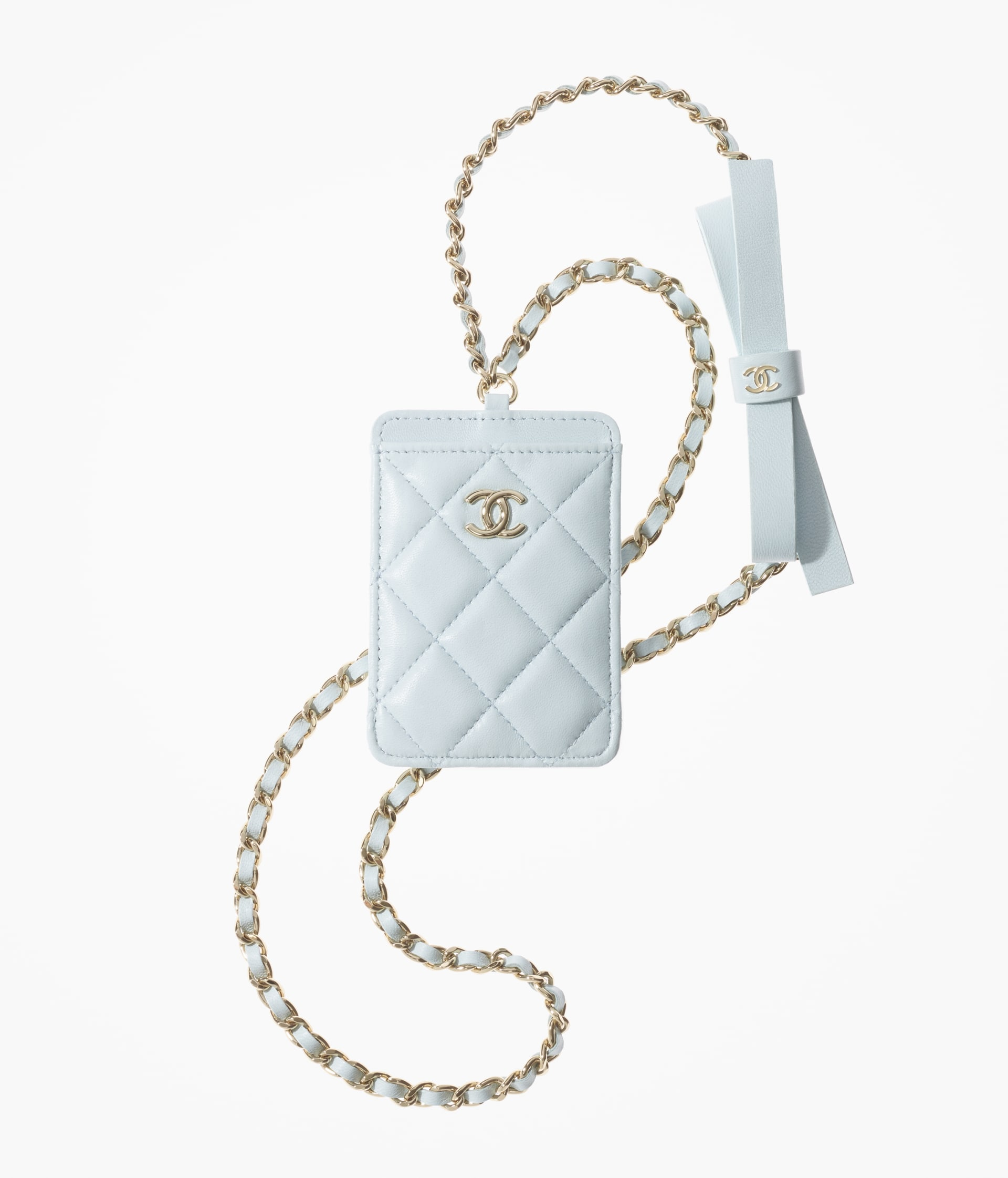 image 1 - Card Holder with Chain - Lambskin & Gold-Tone Metal - Light Blue