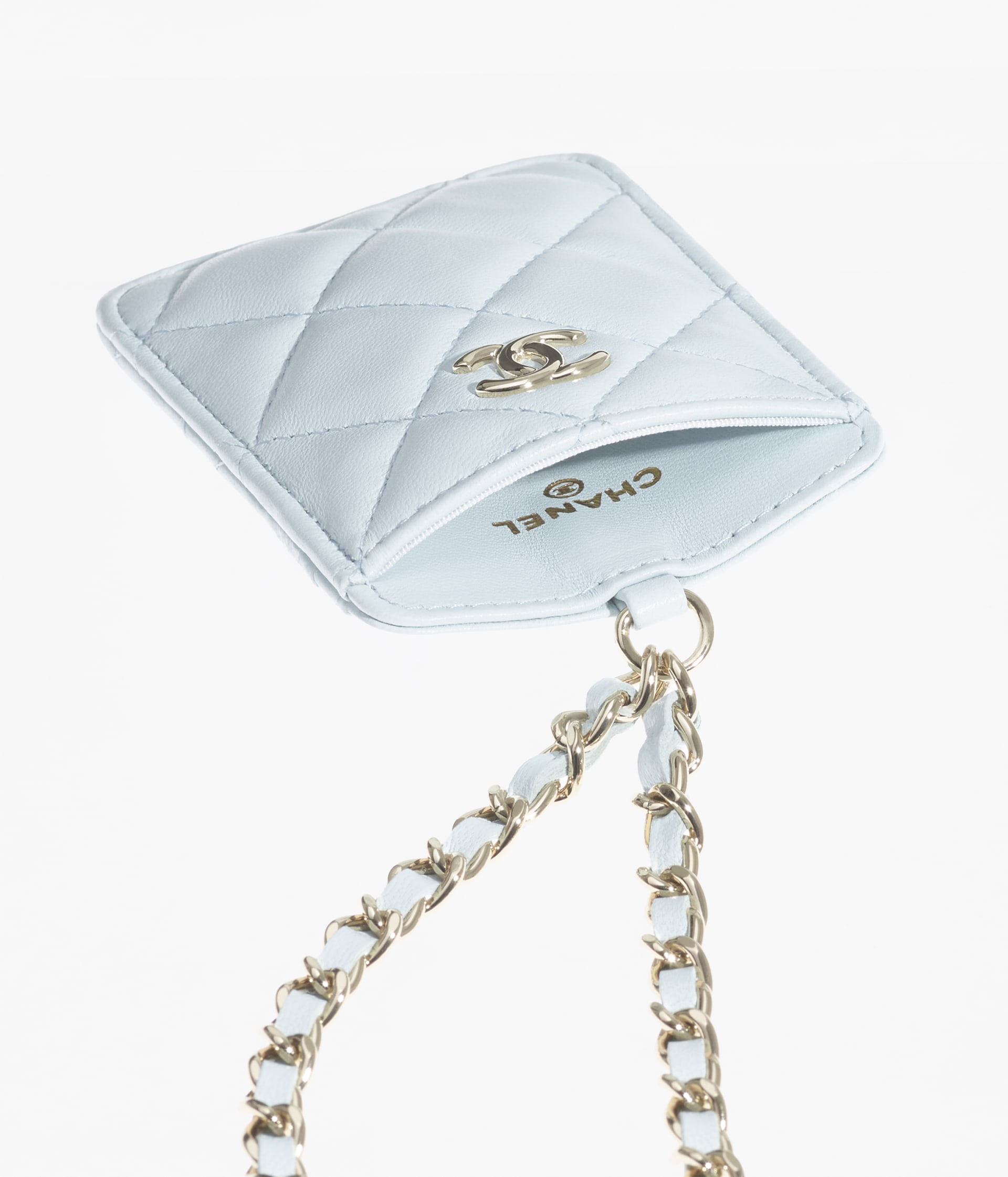 image 2 - Card Holder with Chain - Lambskin & Gold-Tone Metal - Light Blue