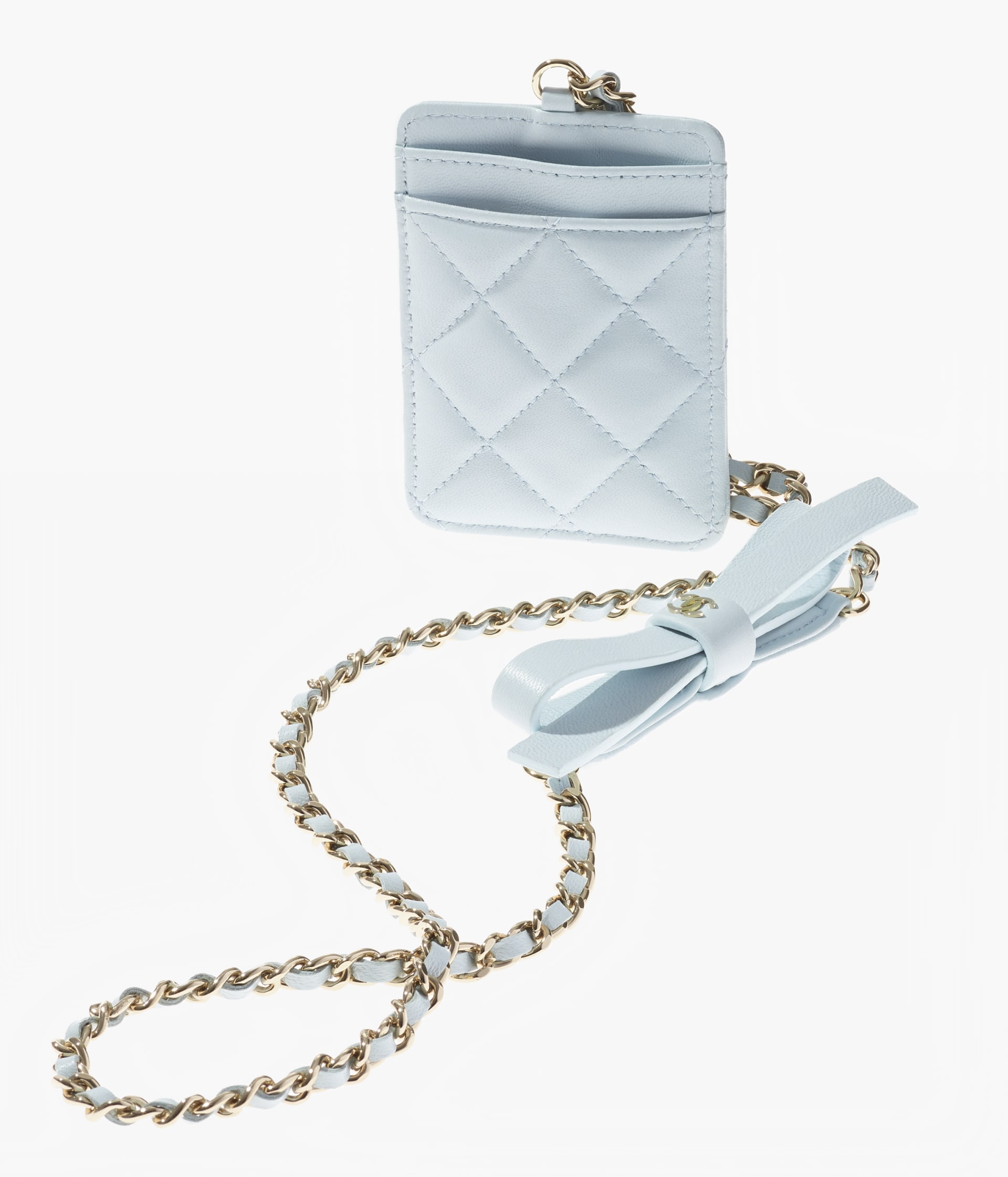 image 4 - Card Holder with Chain - Lambskin & Gold-Tone Metal - Light Blue