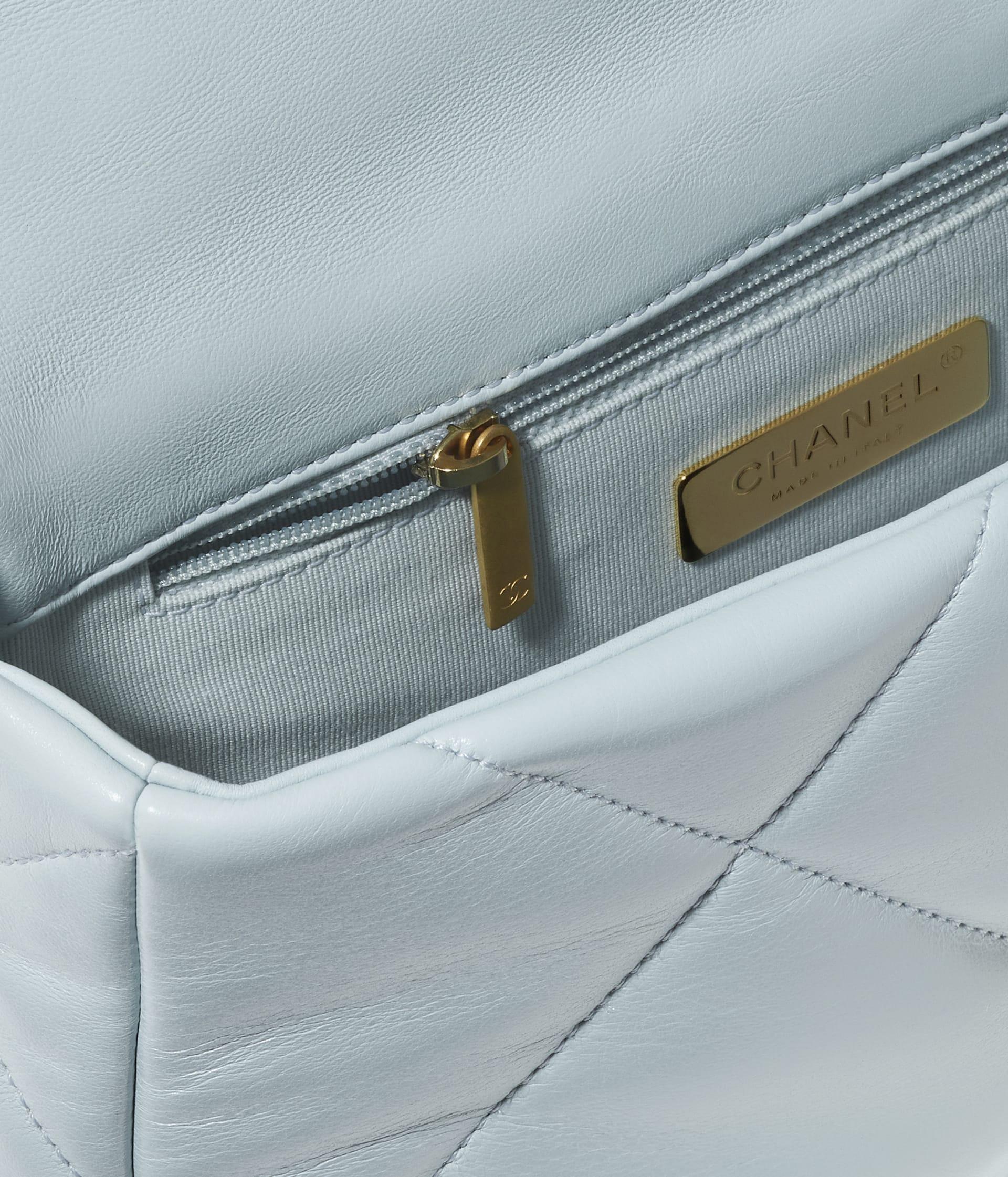 image 3 - CHANEL 19 Handbag - Lambskin, Gold-Tone, Silver-Tone & Ruthenium-Finish Metal - Light Blue